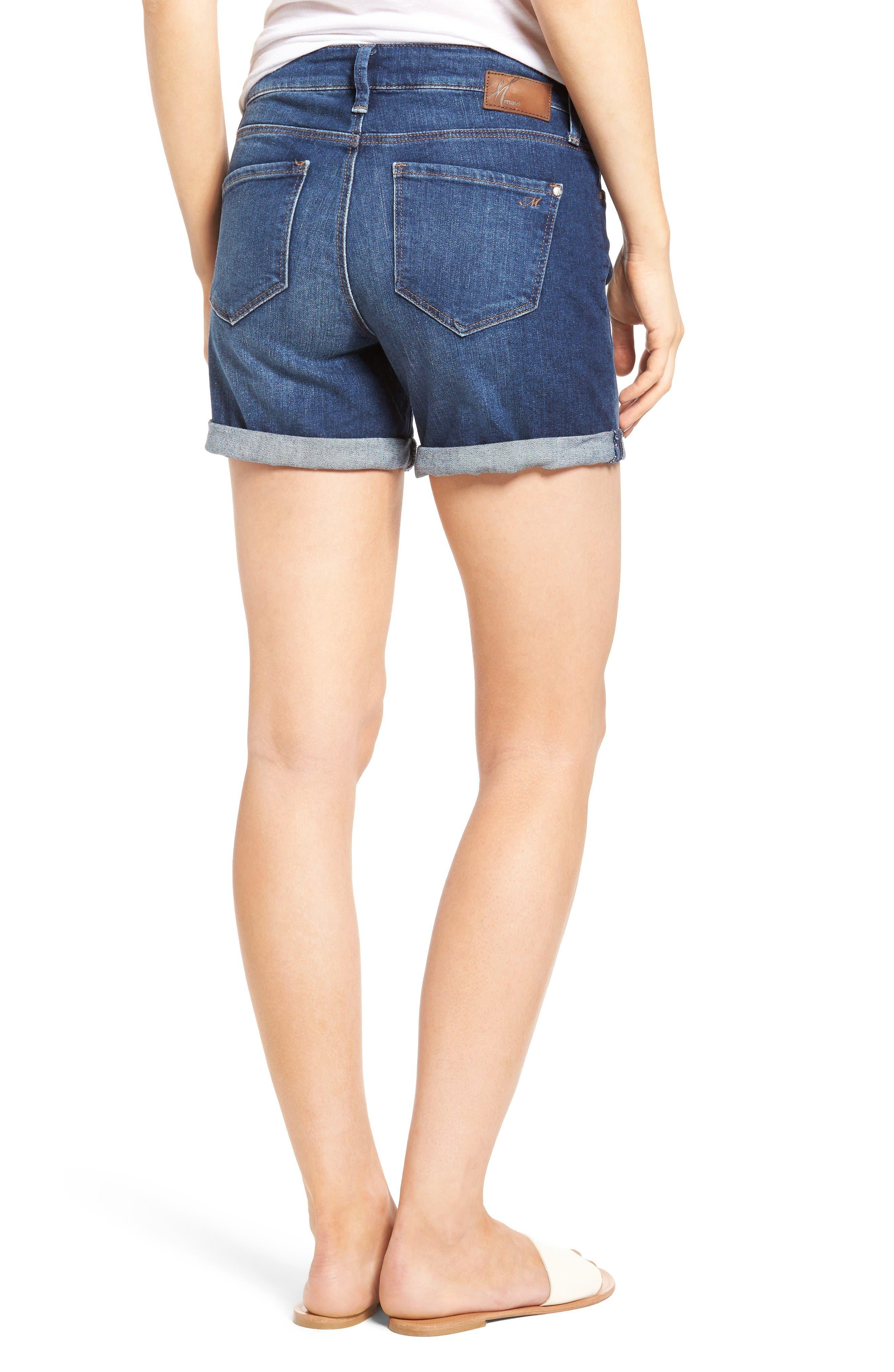 Marla Roll Cuff Denim Shorts,                             Alternate thumbnail 2, color,                             Dark