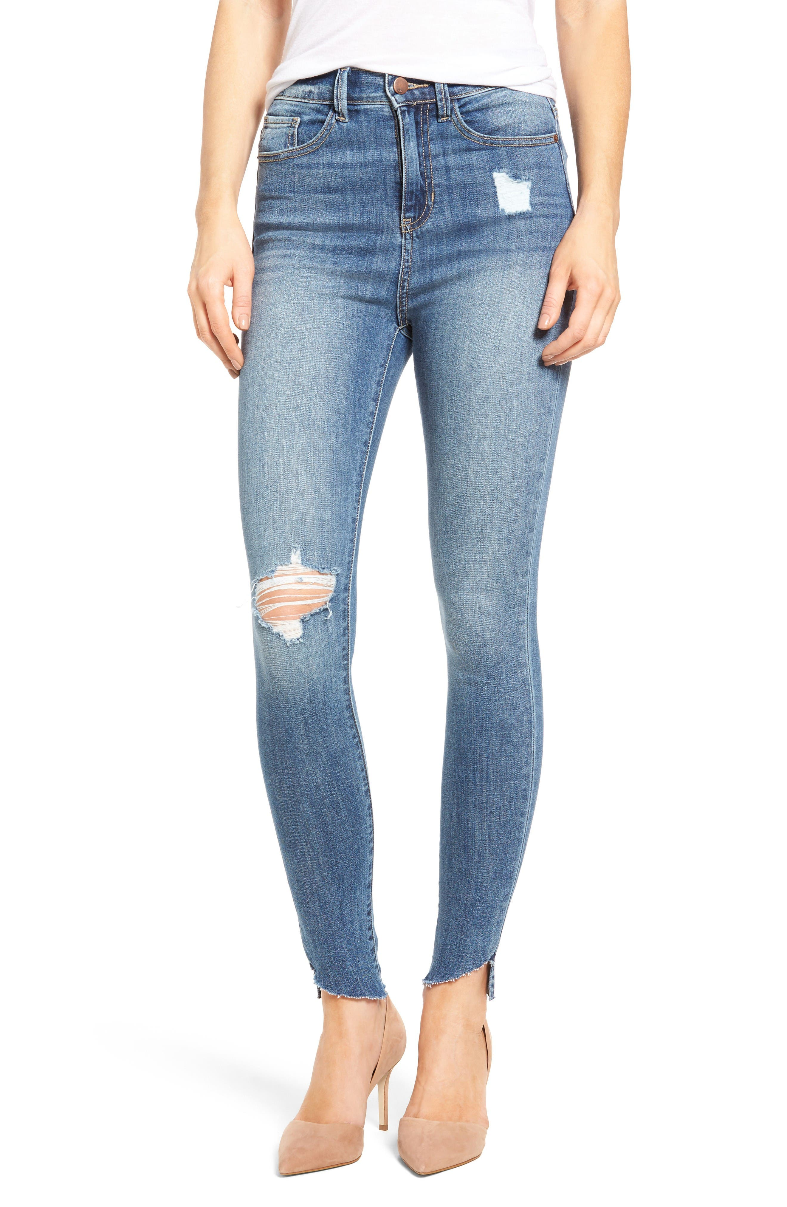 Alternate Image 1 Selected - SP Black Decon Raw Edge High Waist Skinny Jeans