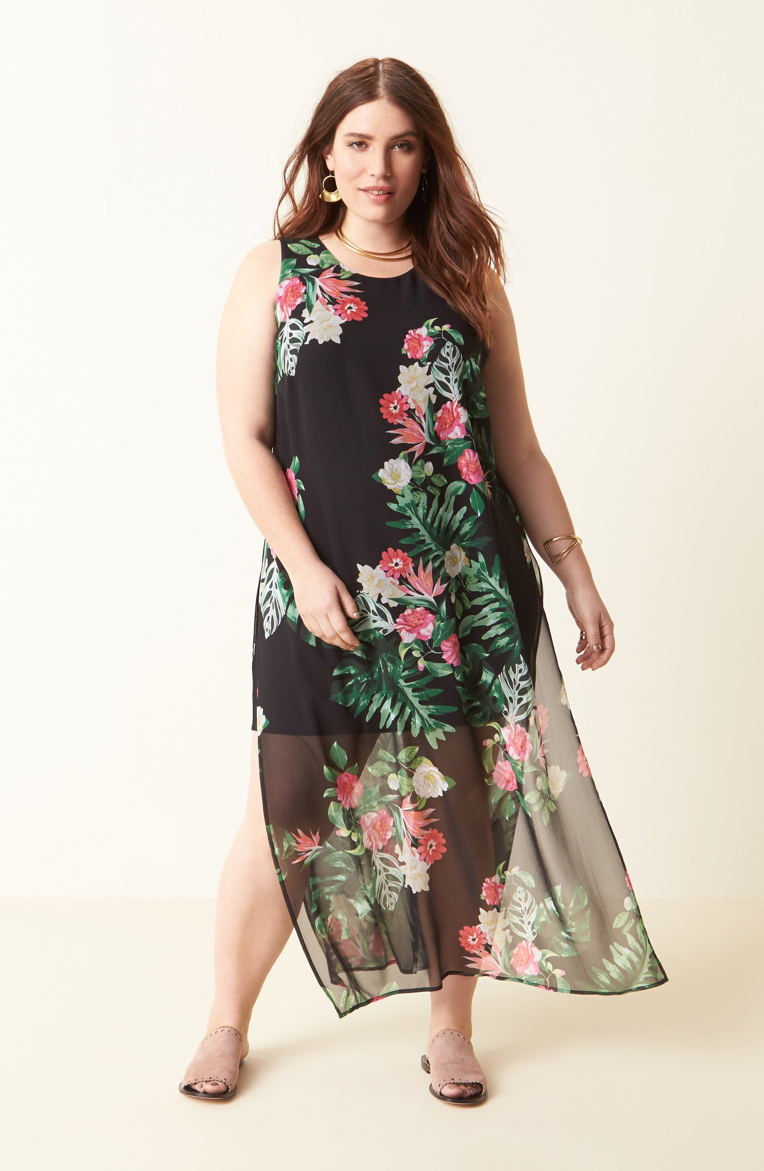 Alternate Image 2  - Vince Camuto Havana Tropical Maxi Dress (Plus Size)