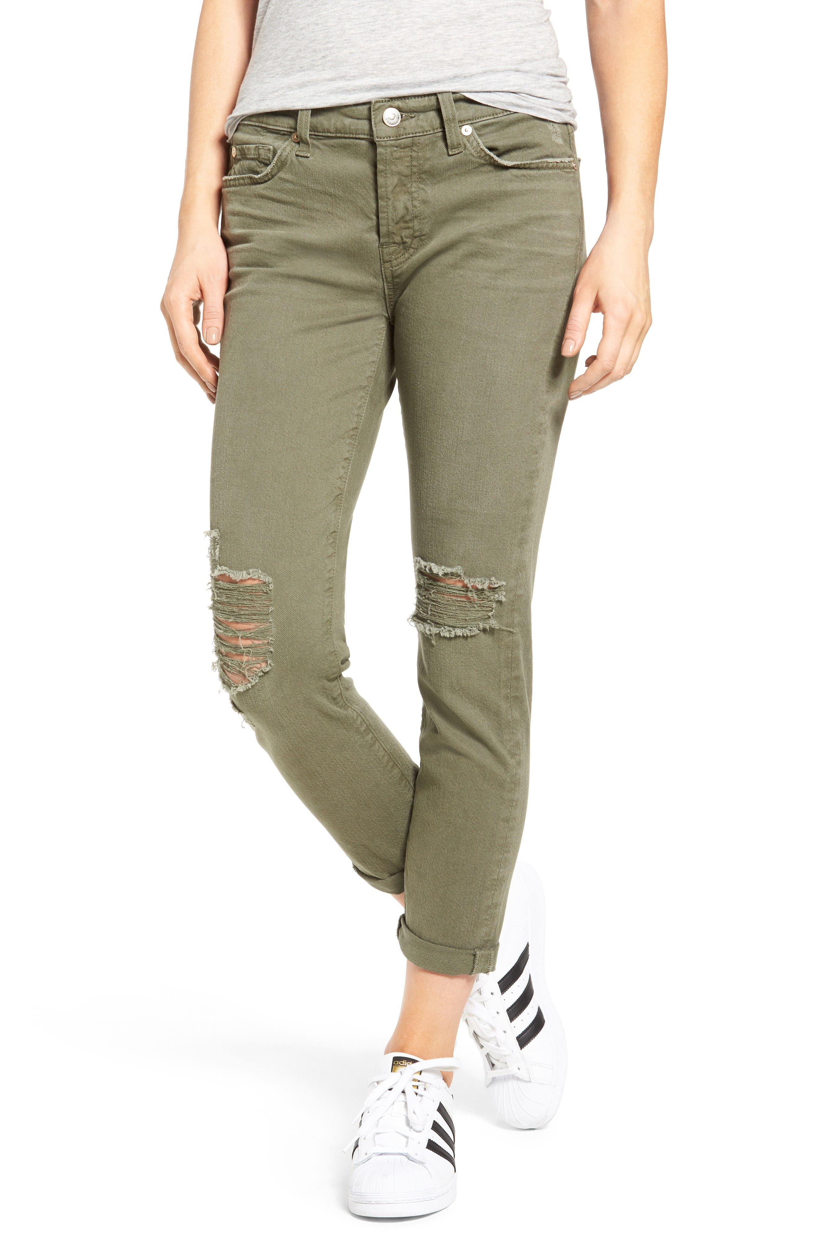 Main Image - 7 For All Mankind® Josefina Destroyed Boyfriend Jeans (Sun Bleached Olive)