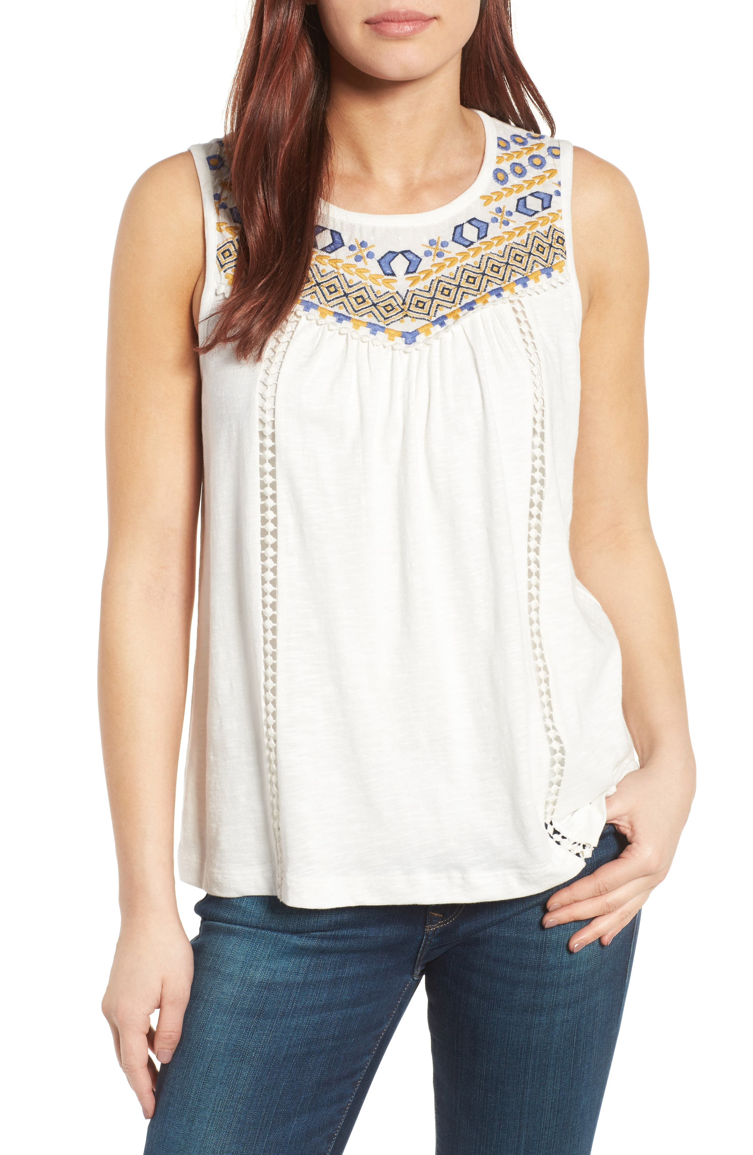 Embroidered Yoke Tank,                         Main,                         color, Ivory- Yellow Embroidery