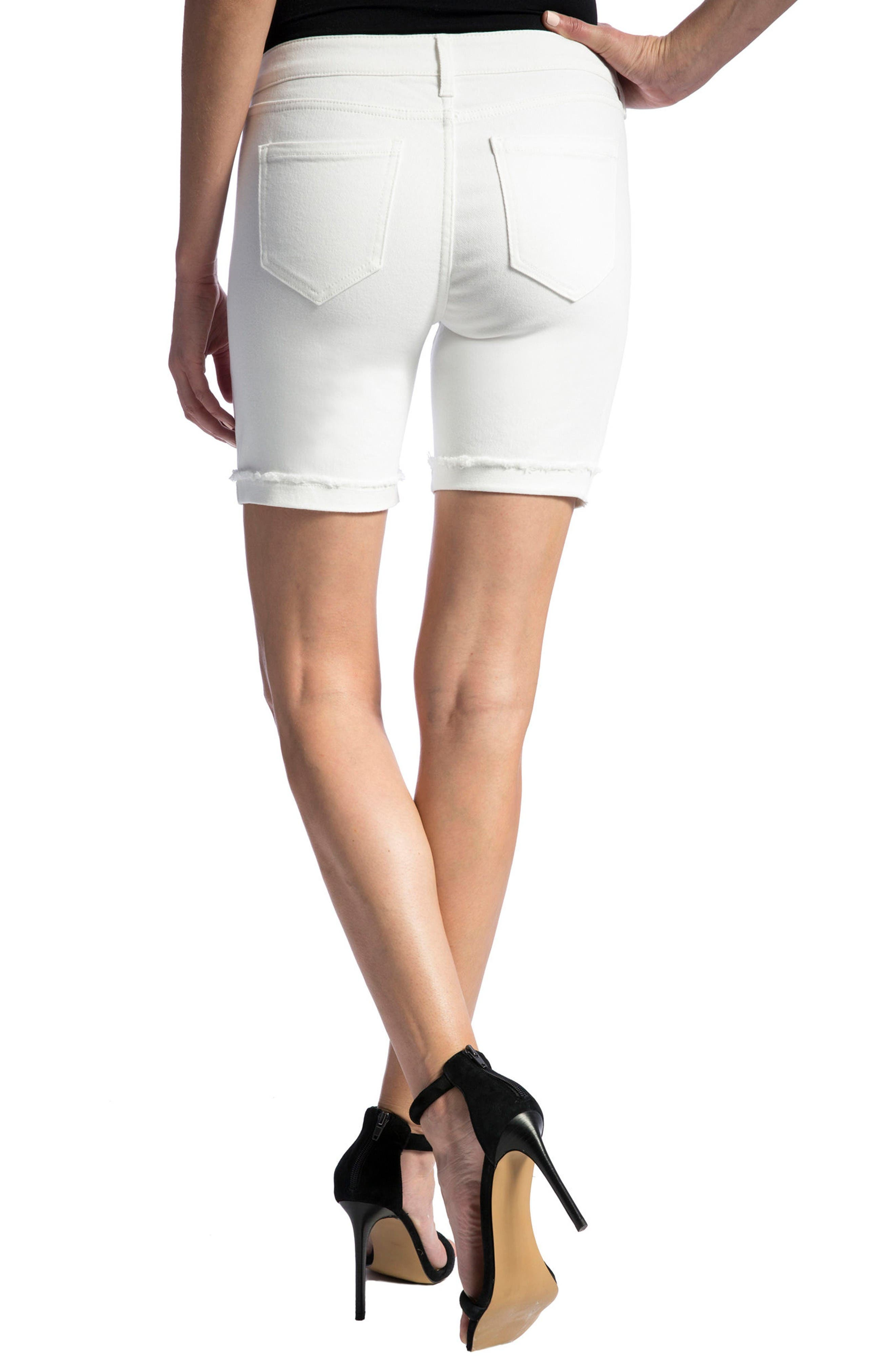 Corine Cuffed Denim Shorts,                             Alternate thumbnail 3, color,                             Bright White