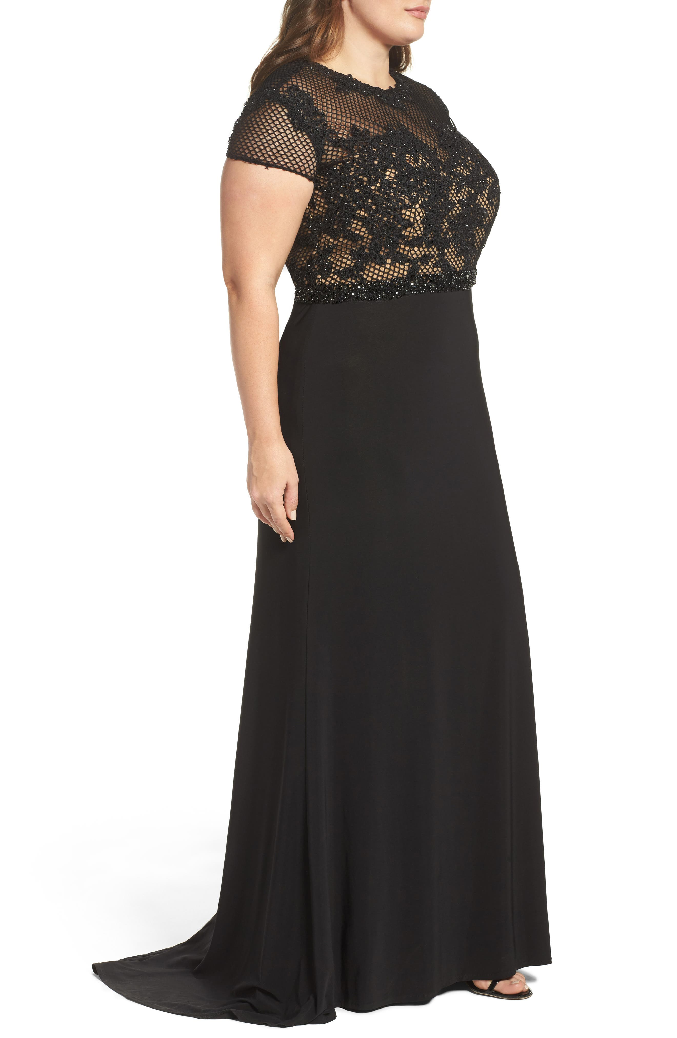 Alternate Image 3  - Mac Duggal Embellished Crochet & Jersey Gown (Plus Size)