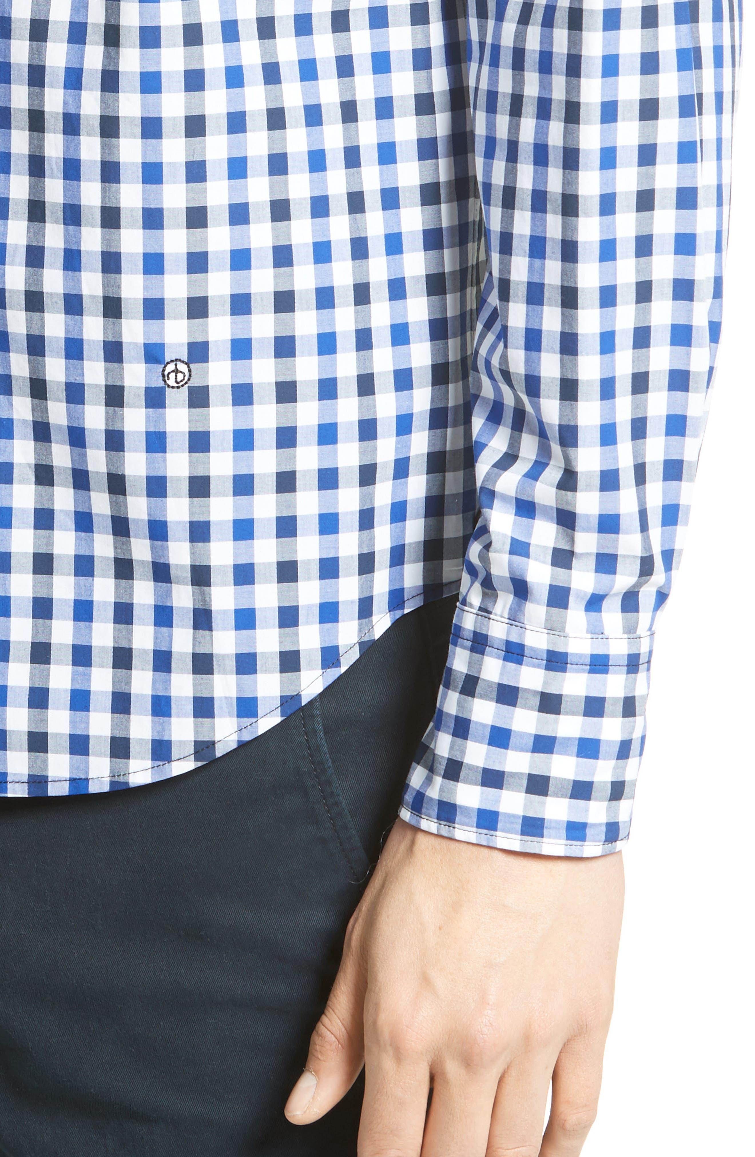 Tomlin Check Sport Shirt,                             Alternate thumbnail 4, color,                             Navy Check