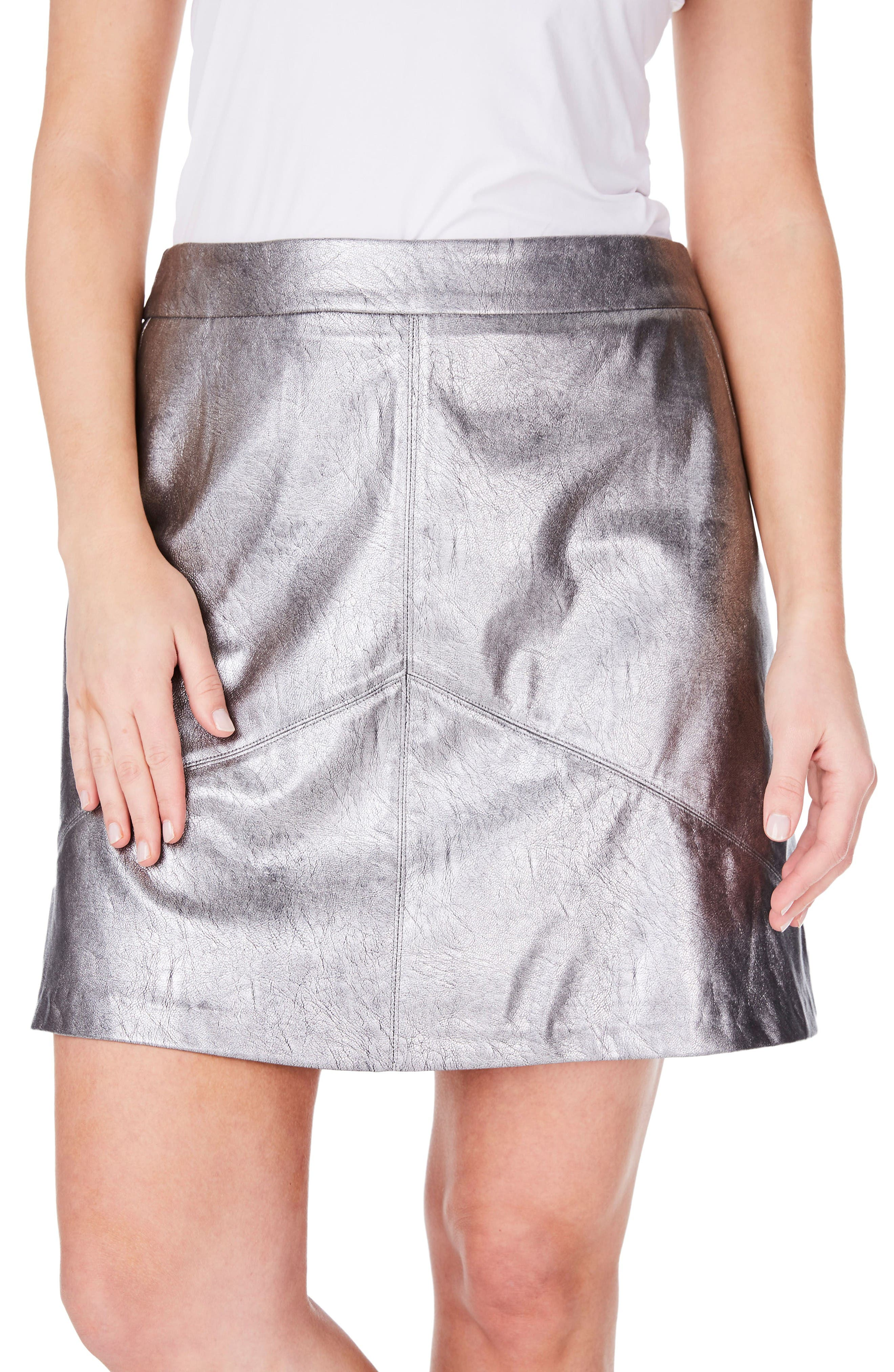 Metallic Faux Leather Miniskirt,                         Main,                         color, Silver