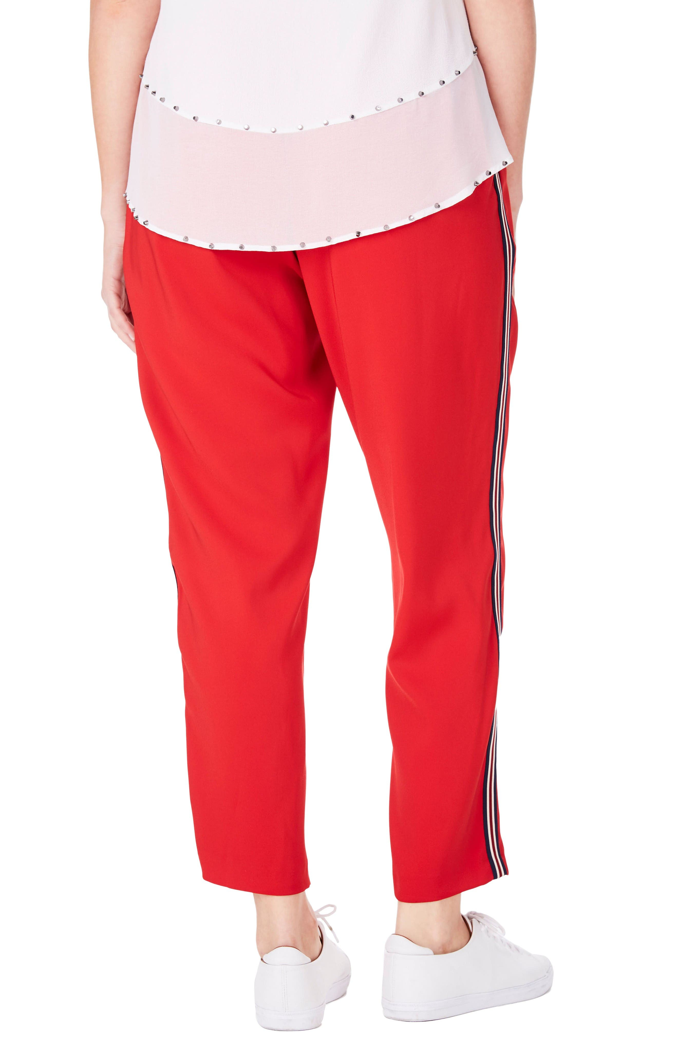 Side Stripe Ankle Pants,                             Alternate thumbnail 2, color,                             Red