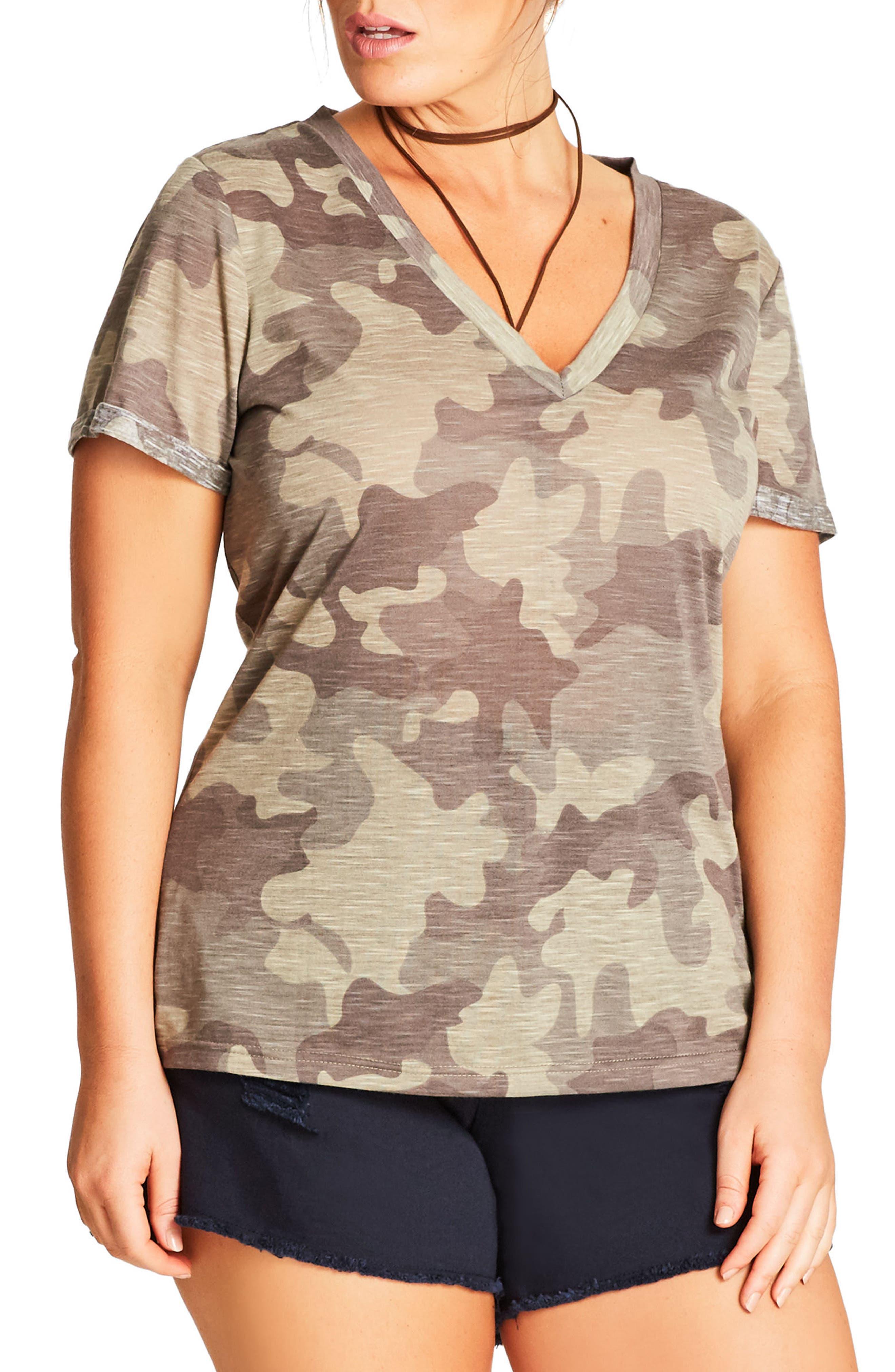 Camouflage Print Top,                         Main,                         color, Khaki Light