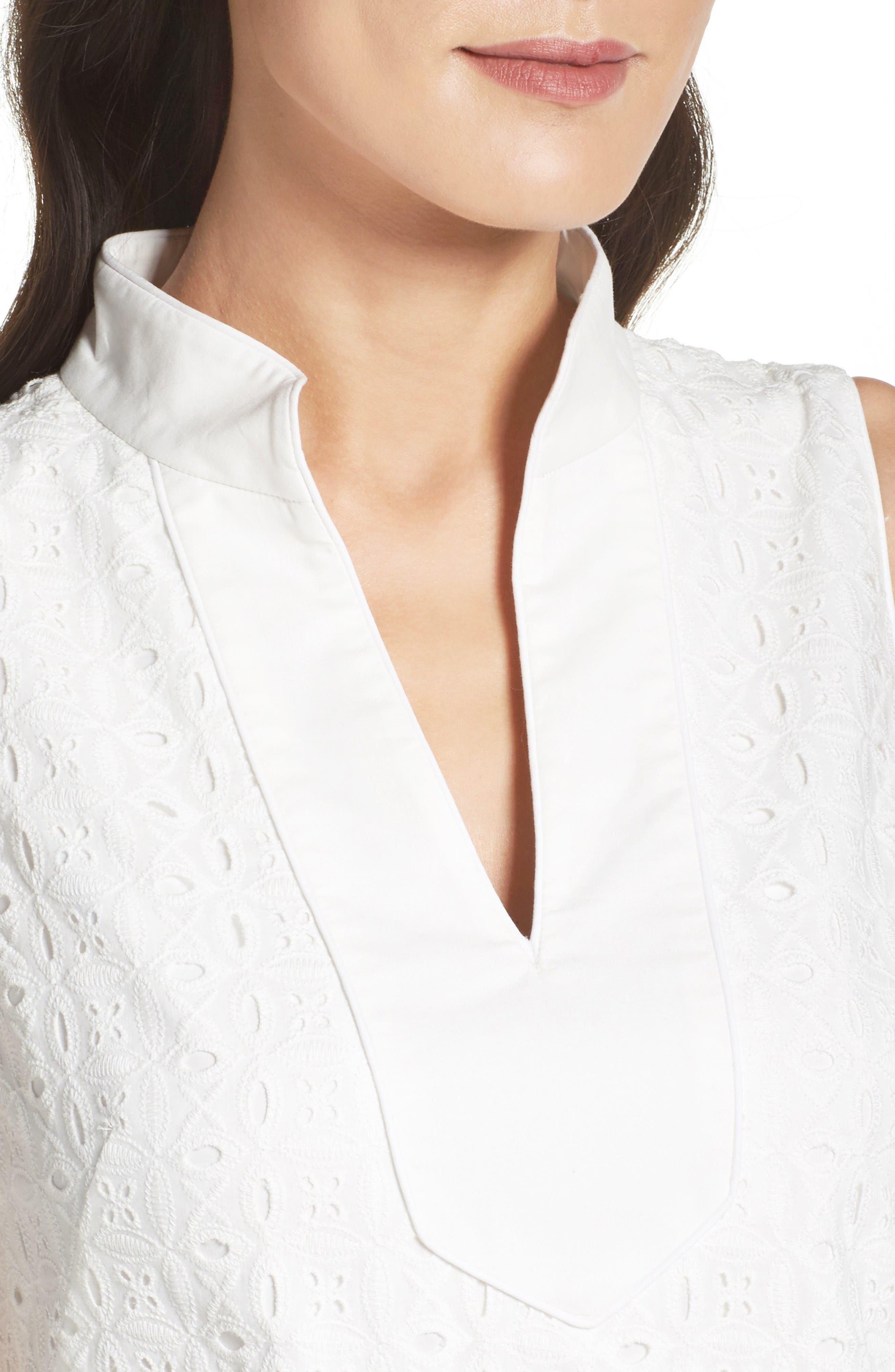 Mandarin Collar Shift Dress,                             Alternate thumbnail 5, color,                             White