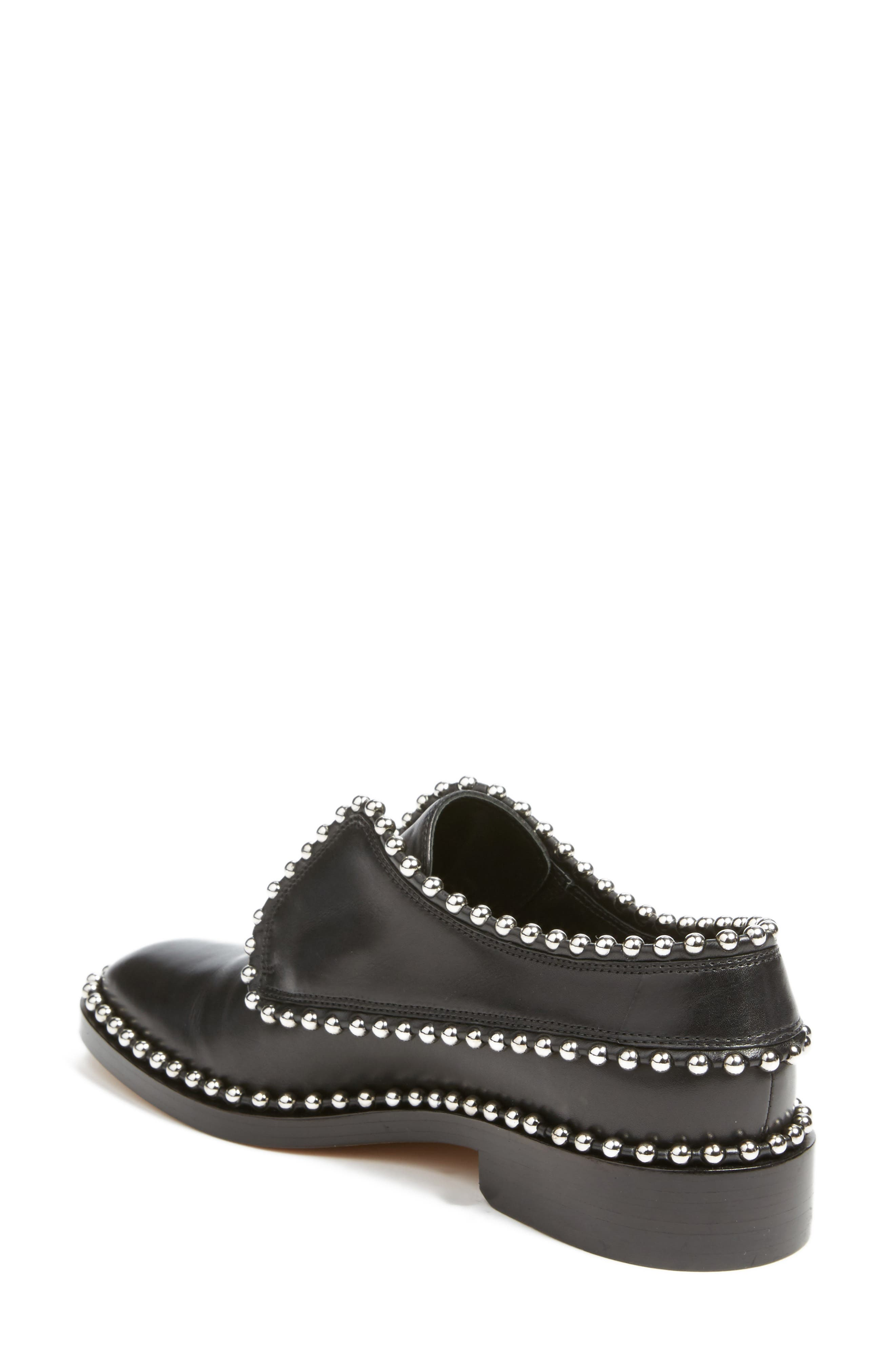 Wendie Studded Oxford,                             Alternate thumbnail 2, color,                             Black Leather