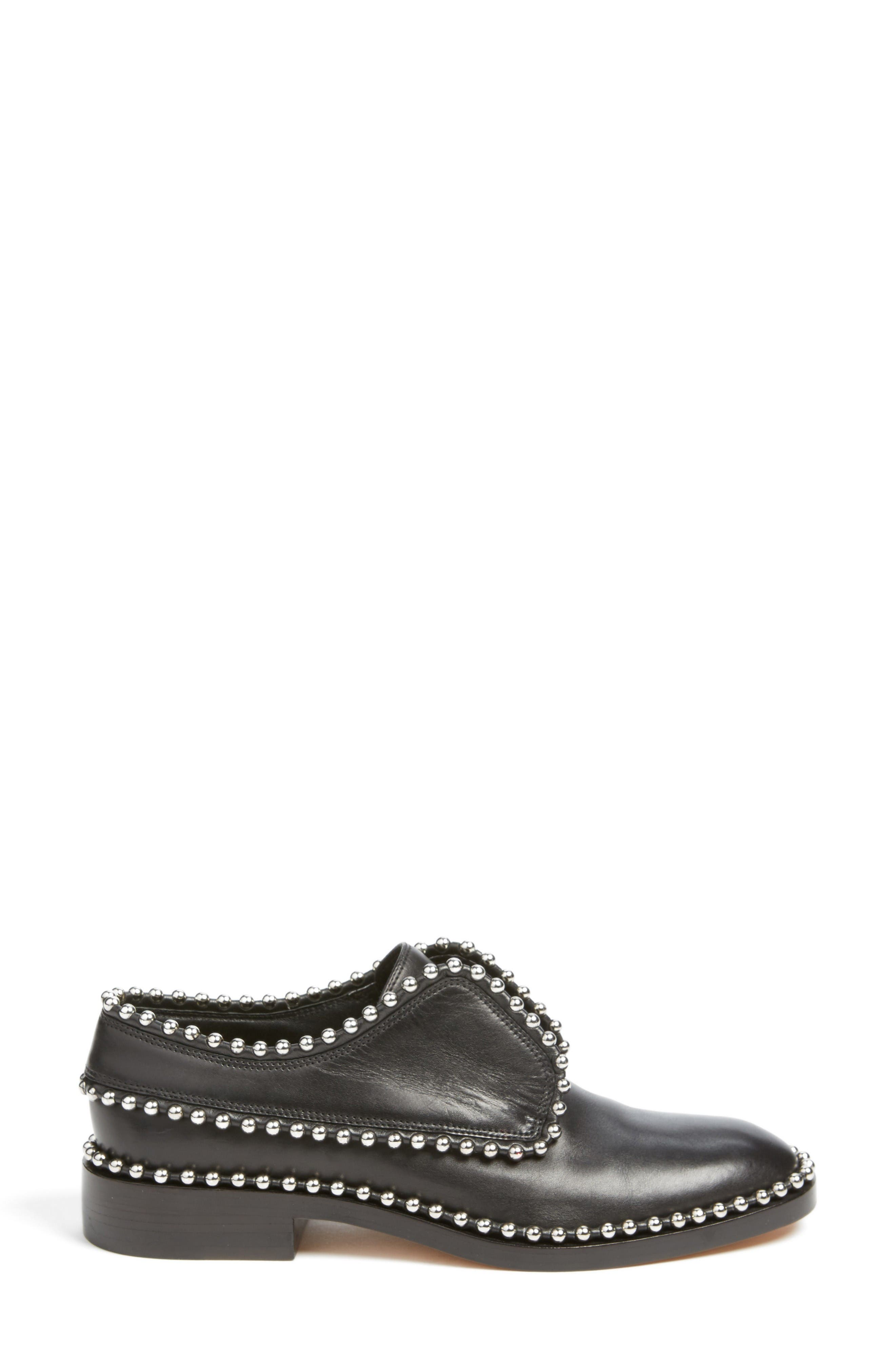 Wendie Studded Oxford,                             Alternate thumbnail 3, color,                             Black Leather