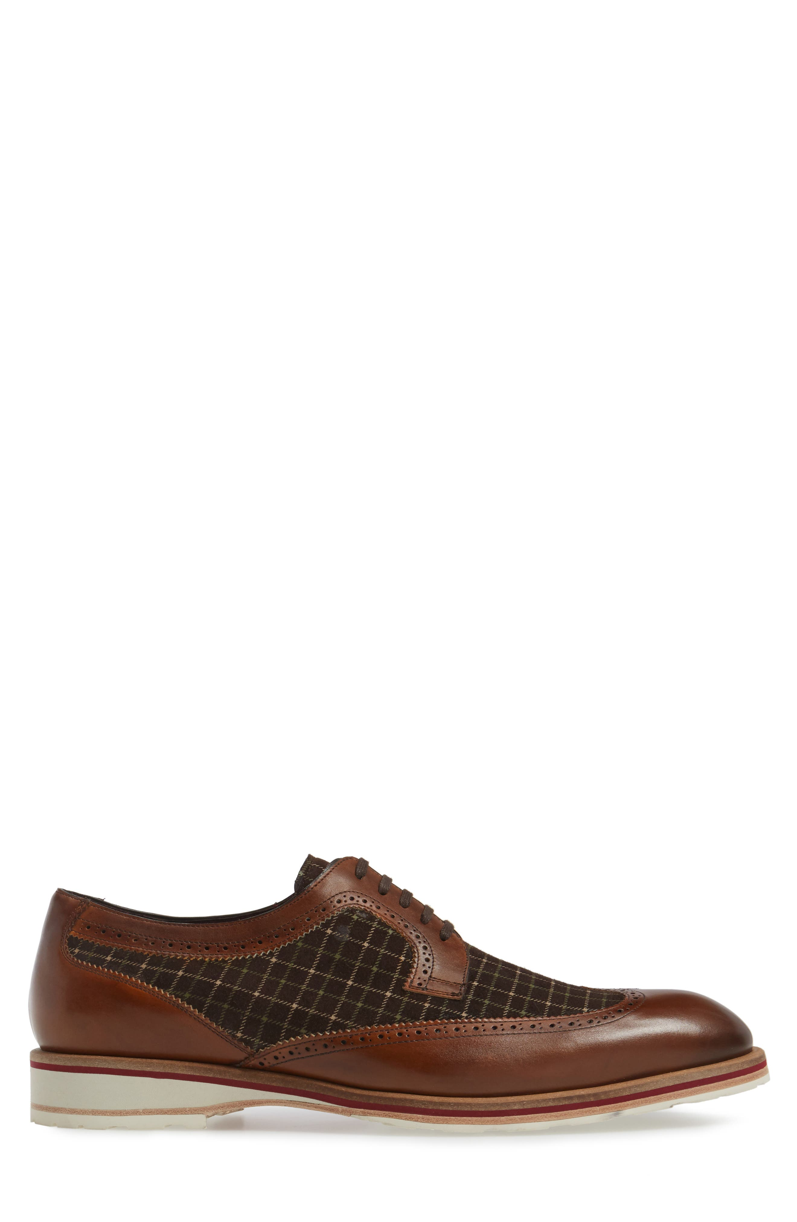 Paulov Tattersall Wingtip,                             Alternate thumbnail 3, color,                             Cognac/ Brown Leather