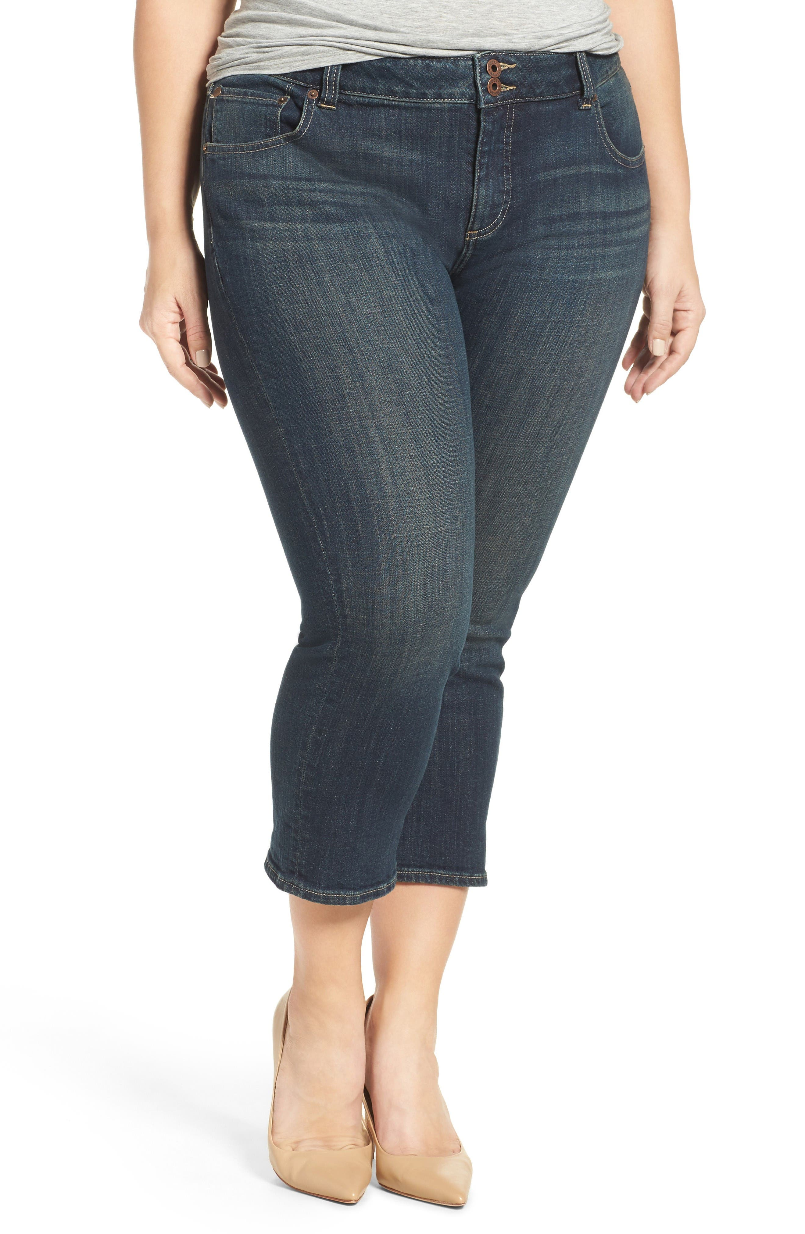 Lucky Brand Emma Stretch Crop Jeans (Abyss) (Plus Size) | Nordstrom