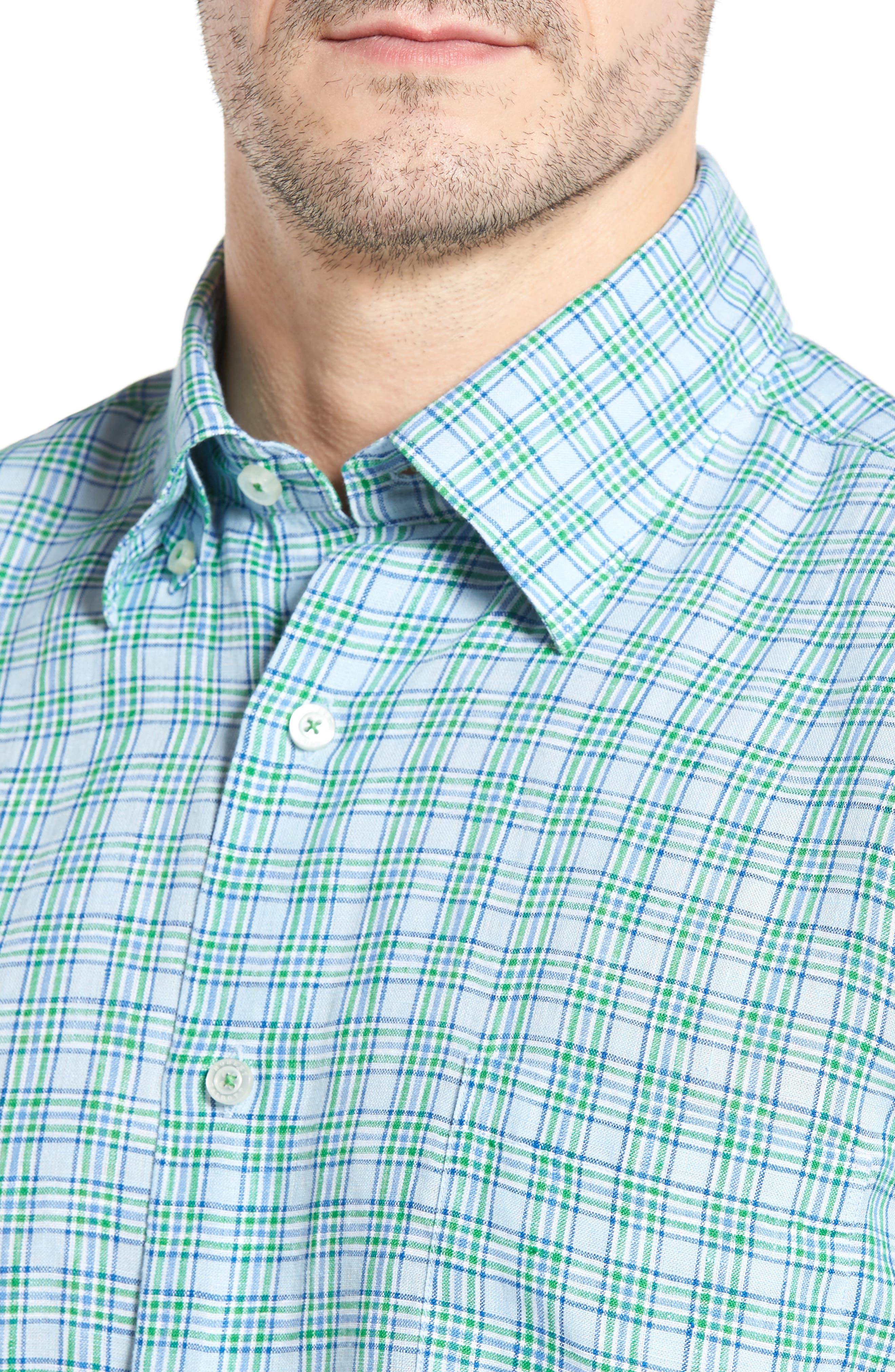Anderson Classic Fit Sport Shirt,                             Alternate thumbnail 4, color,                             Aqua