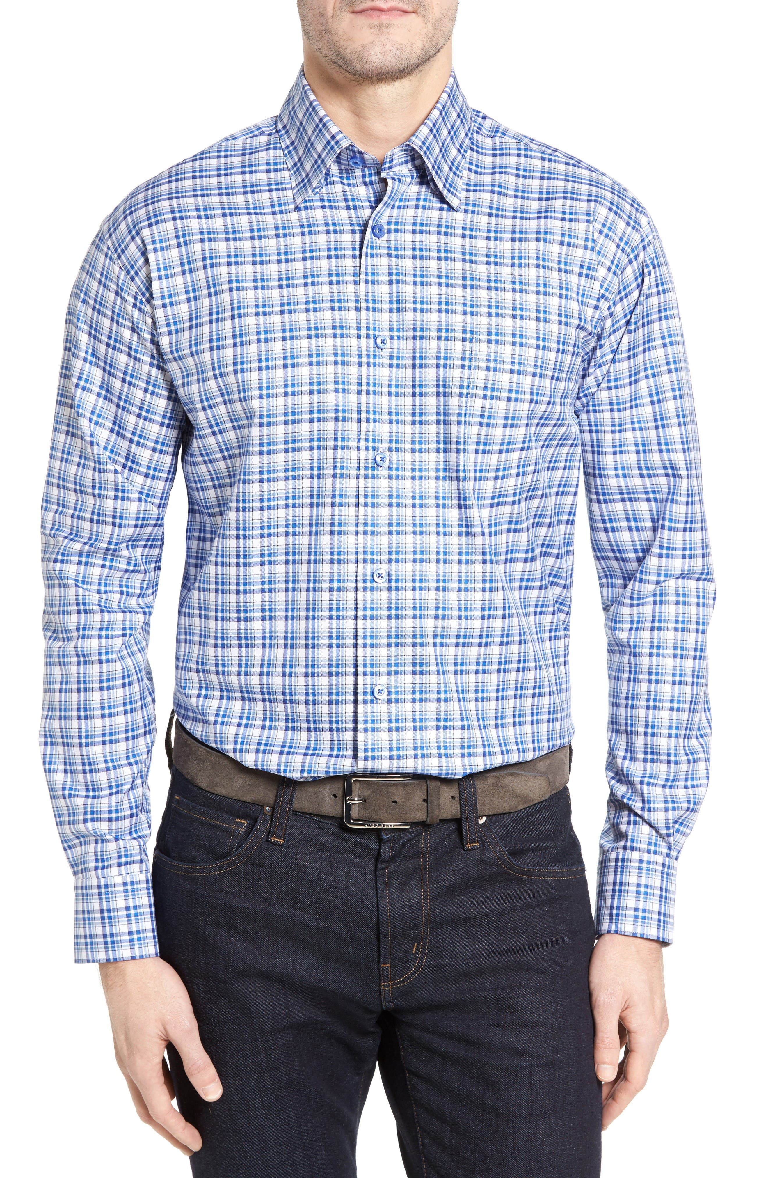 Anderson Classic Fit Plaid Micro Twill Sport Shirt,                             Main thumbnail 1, color,                             Pacific