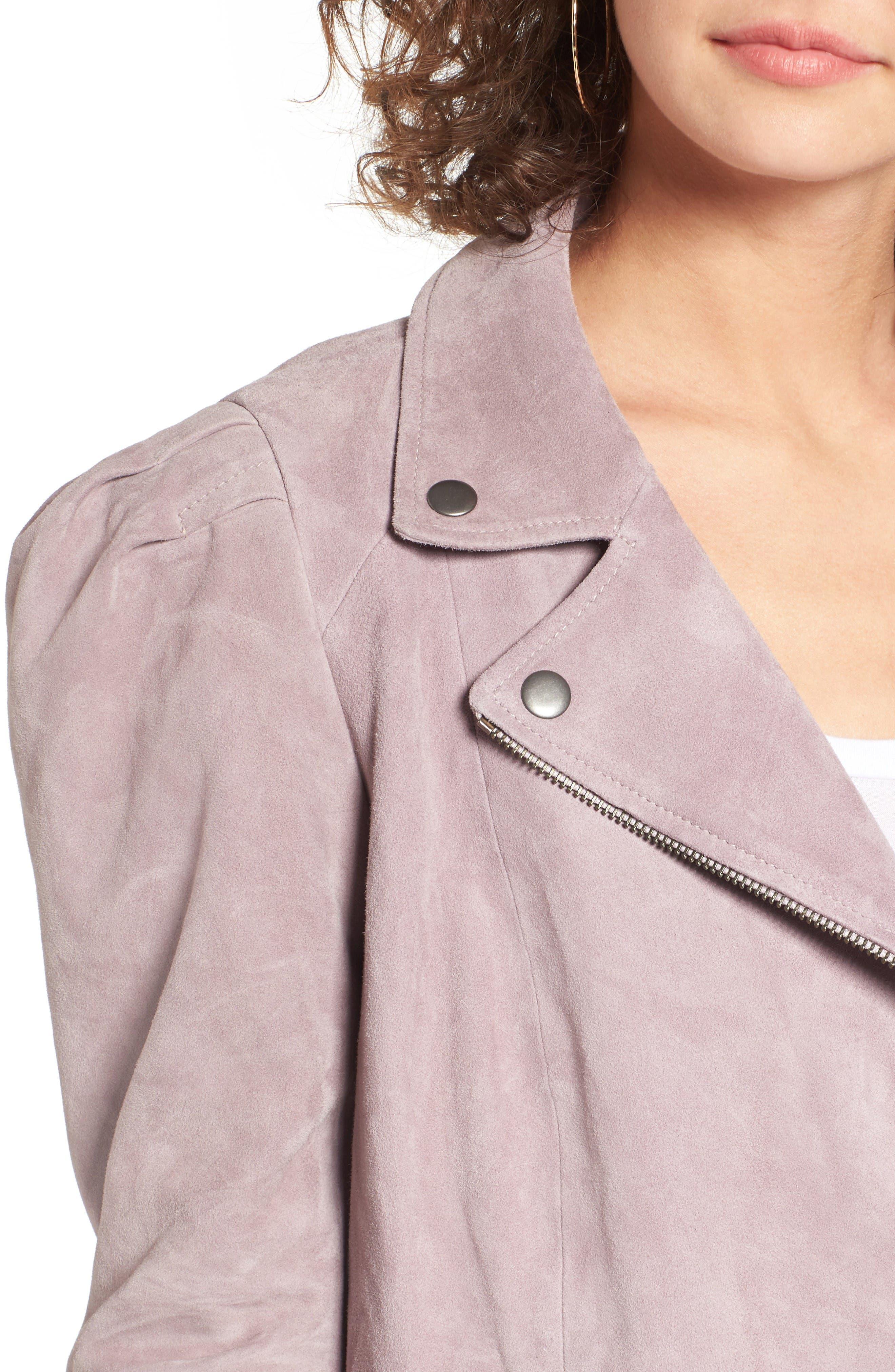 Suede Moto Jacket,                             Alternate thumbnail 4, color,                             Purple Quail