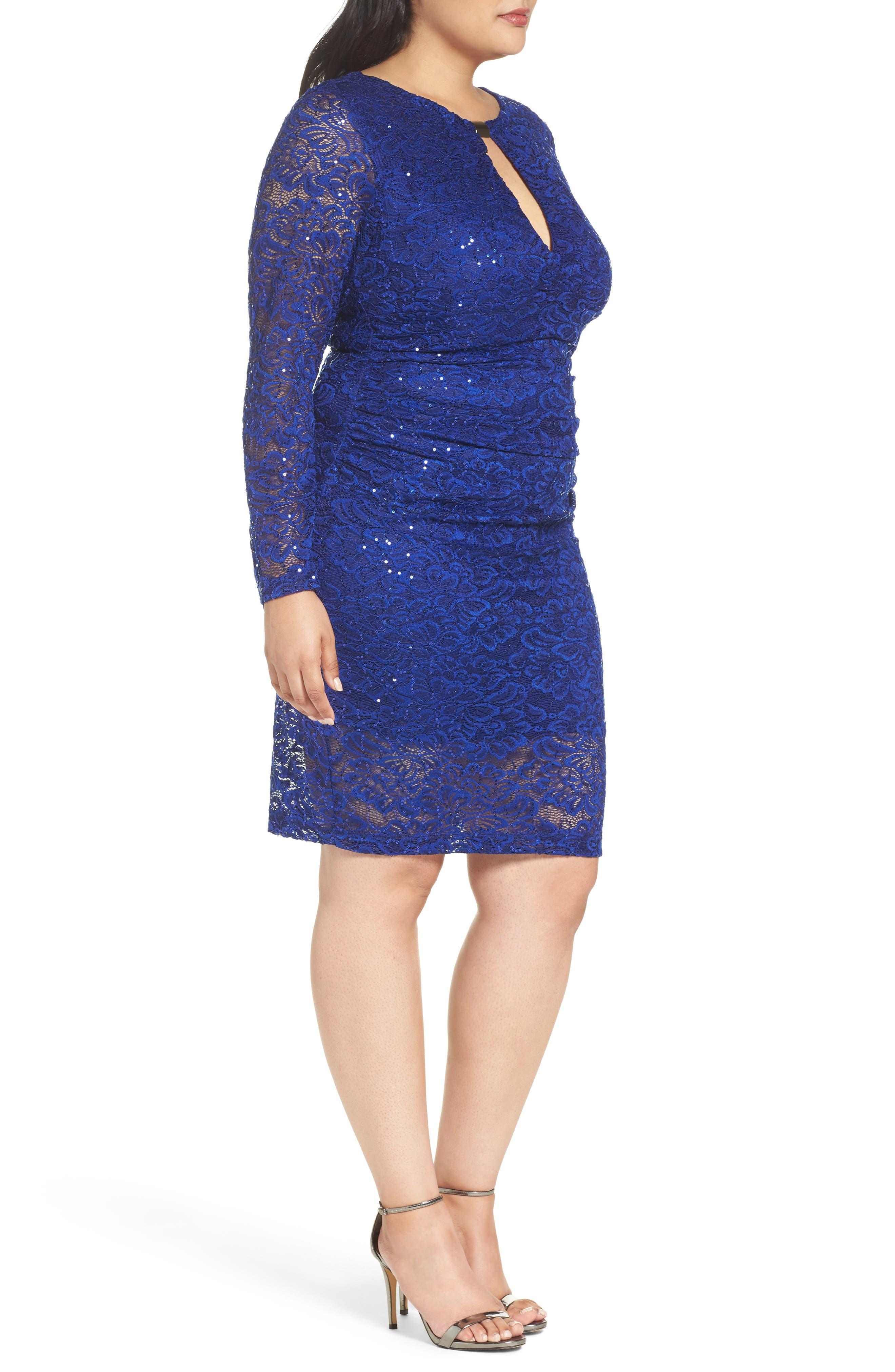 Keyhole Lace Sheath Dress,                             Alternate thumbnail 3, color,                             Royal