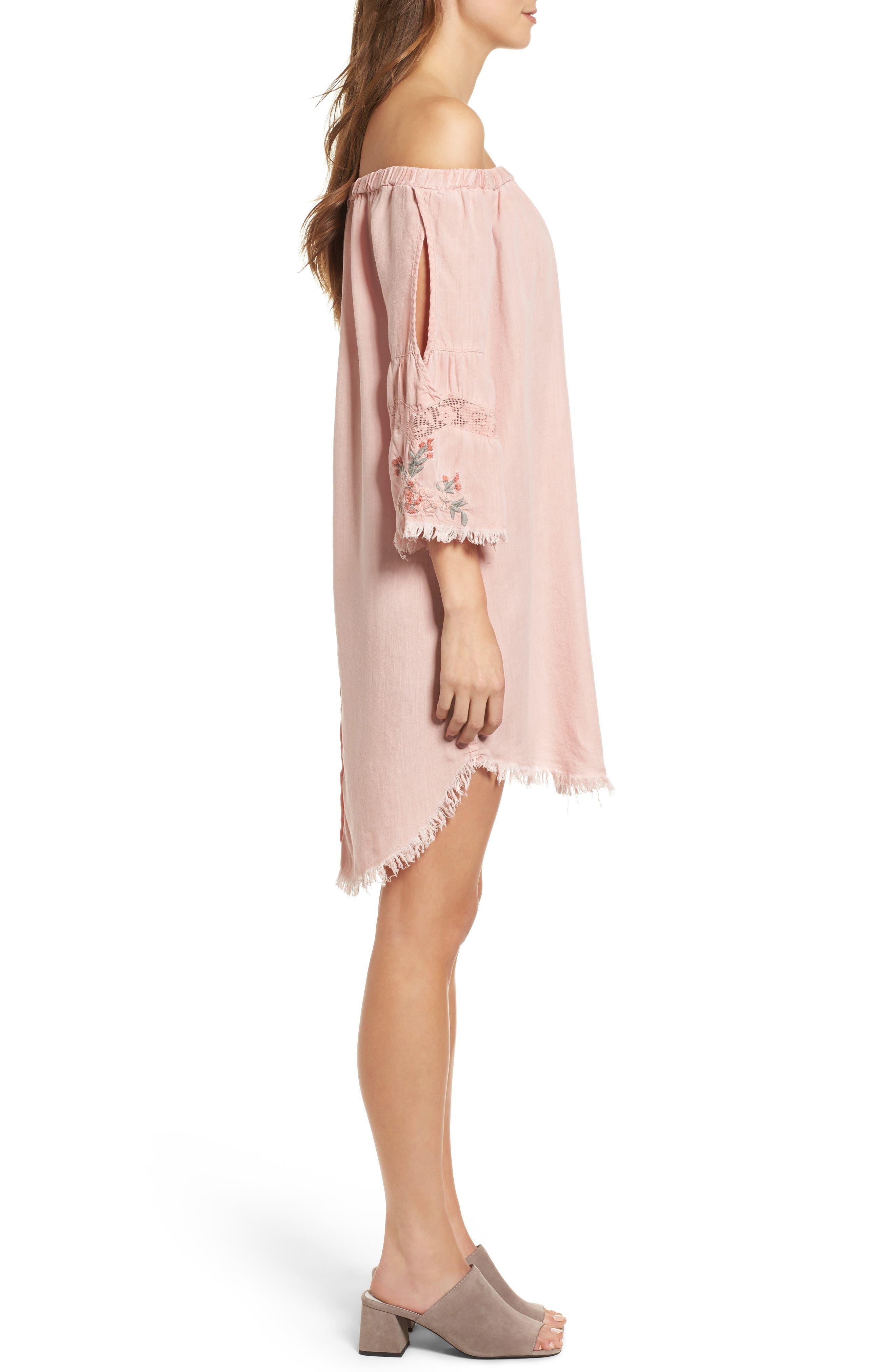 Off the Shoulder Denim Dress,                             Alternate thumbnail 3, color,                             Dusty Pink