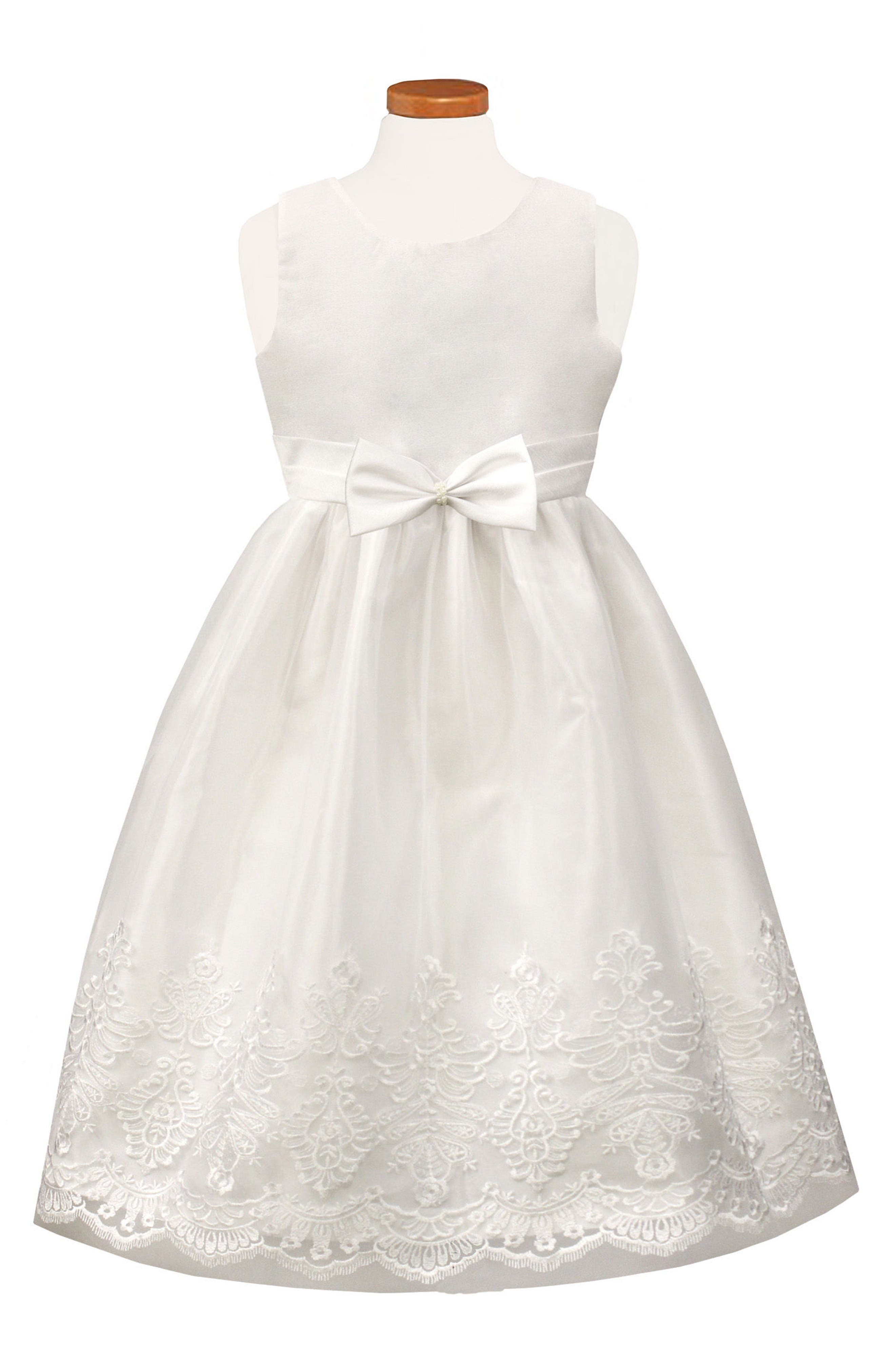 Embroidered Tulle Dress,                             Main thumbnail 1, color,                             White