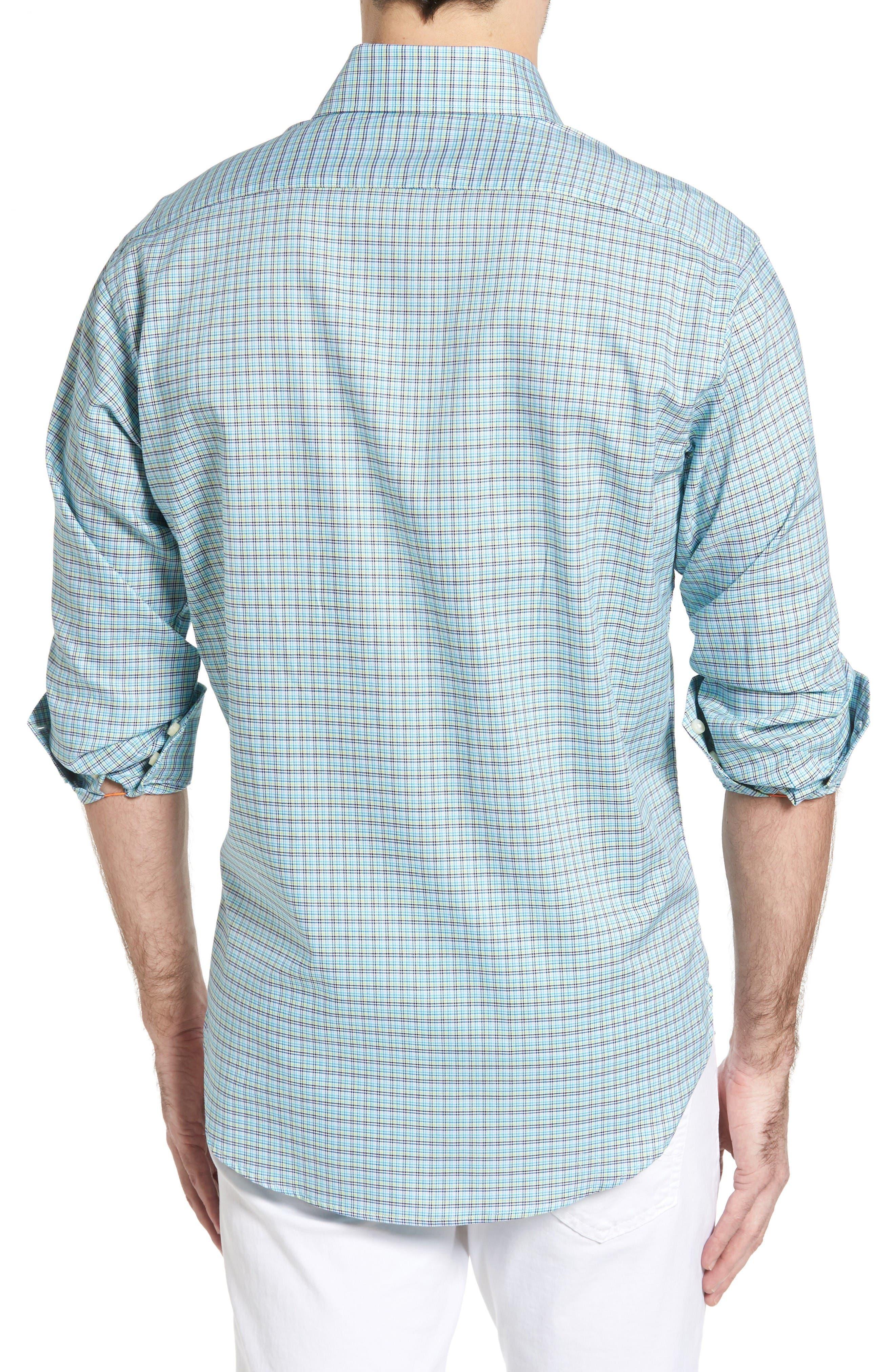 Classic Fit Textured Check Sport Shirt,                             Alternate thumbnail 2, color,                             Aqua