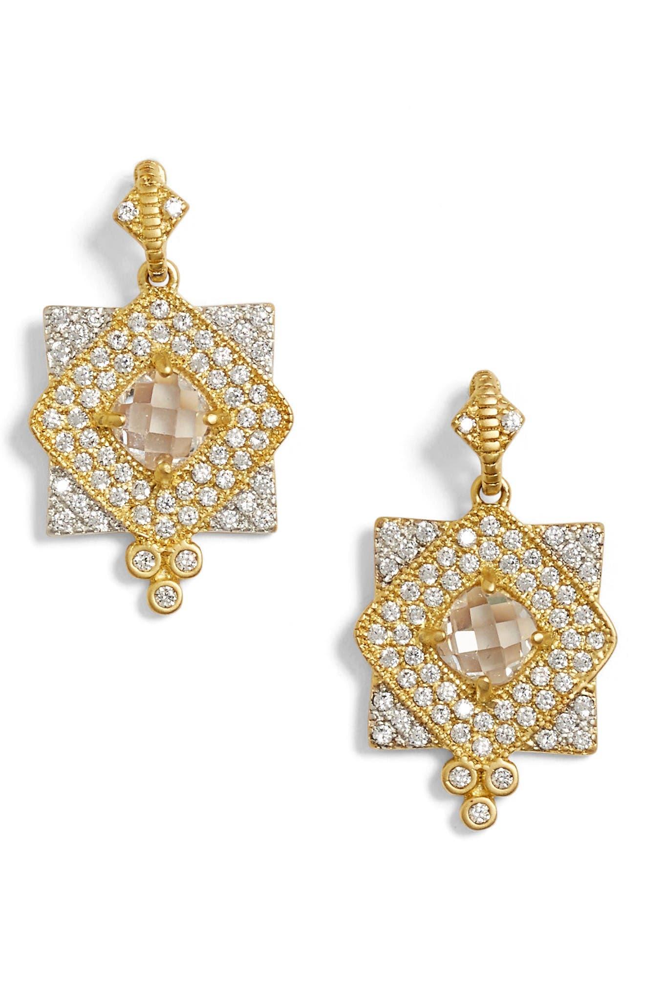 Visionary Fusion Pavé Drop Earrings,                         Main,                         color, Gold