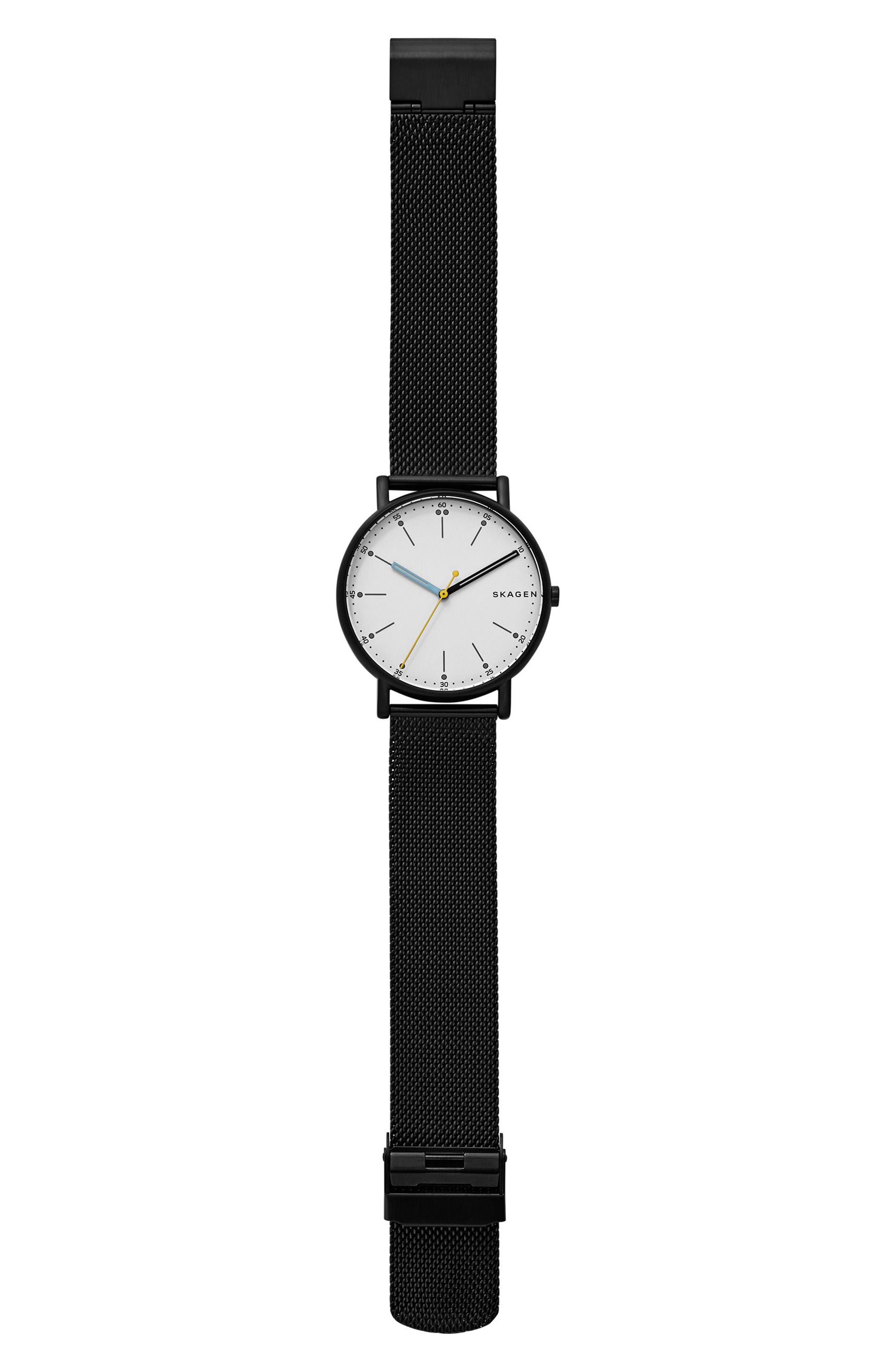 Signatur Mesh Strap Watch, 40mm,                             Alternate thumbnail 2, color,                             Blue/ White/ Gold