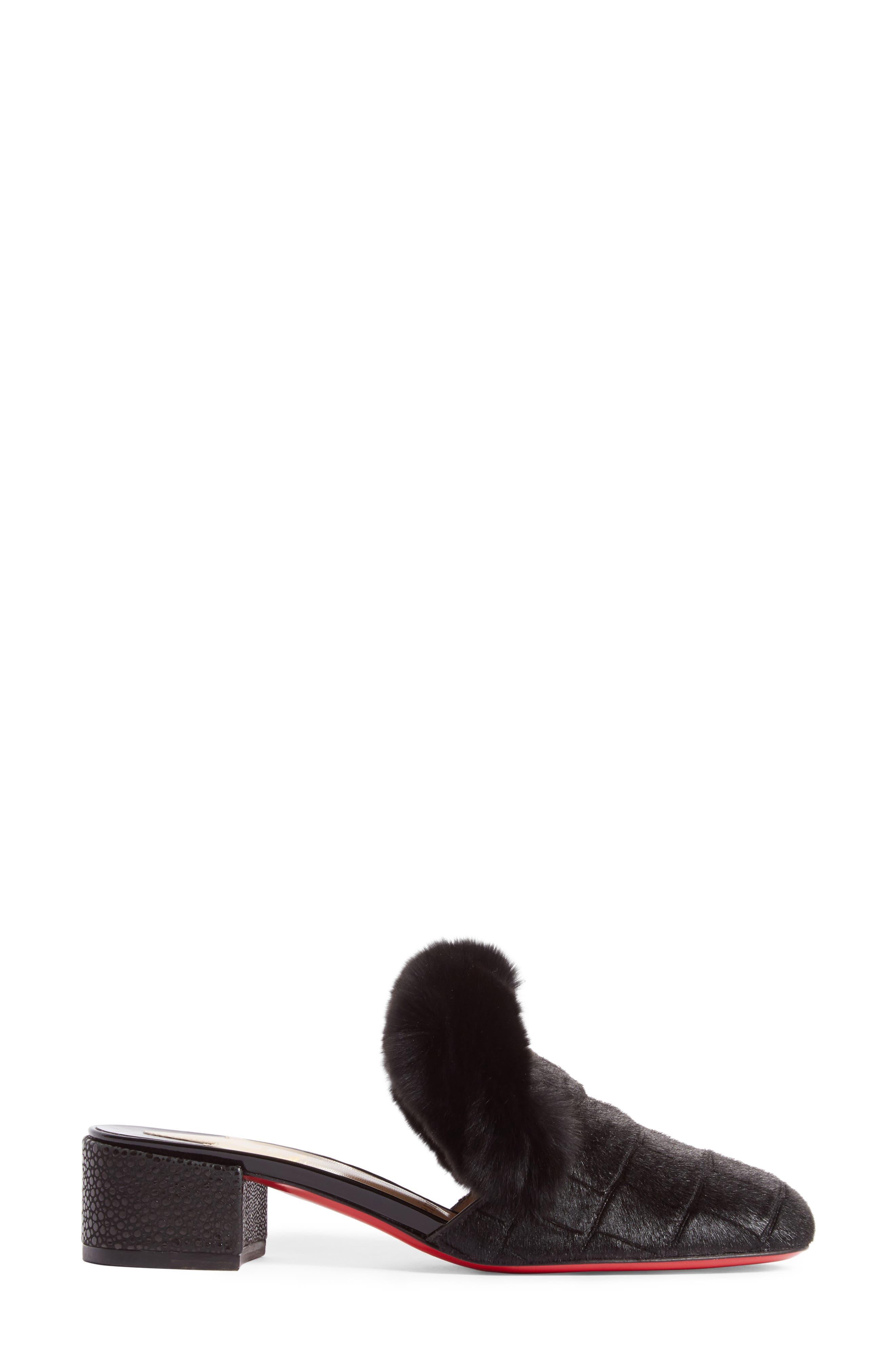 Boudiva Genuine Rabbit Fur Trim Mule,                             Alternate thumbnail 4, color,                             Black