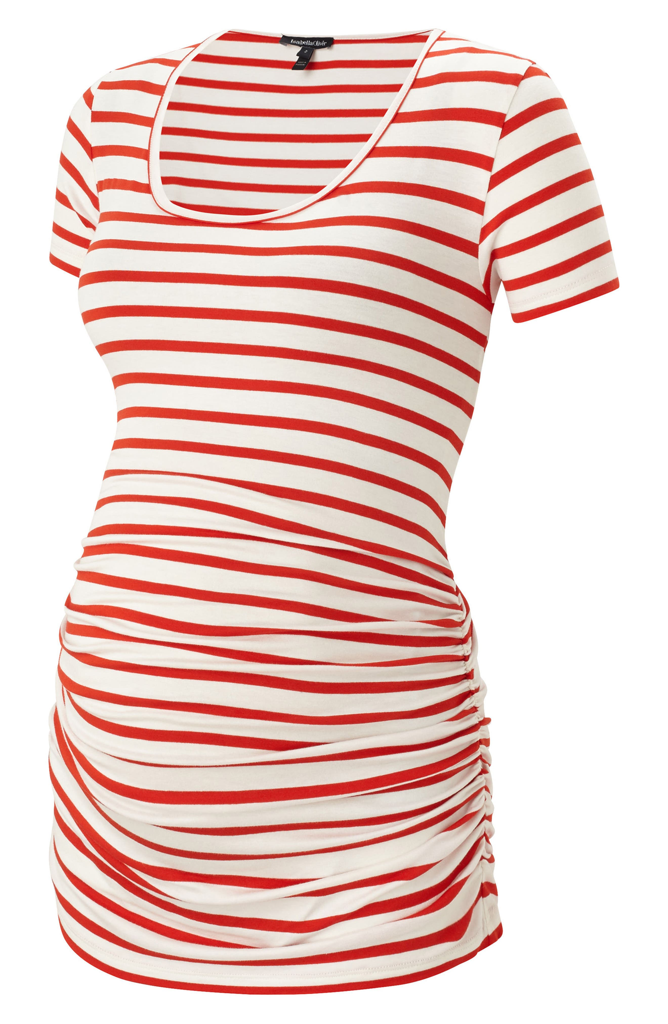 Nia Ruched Maternity Top,                         Main,                         color, Red/ White Stripe