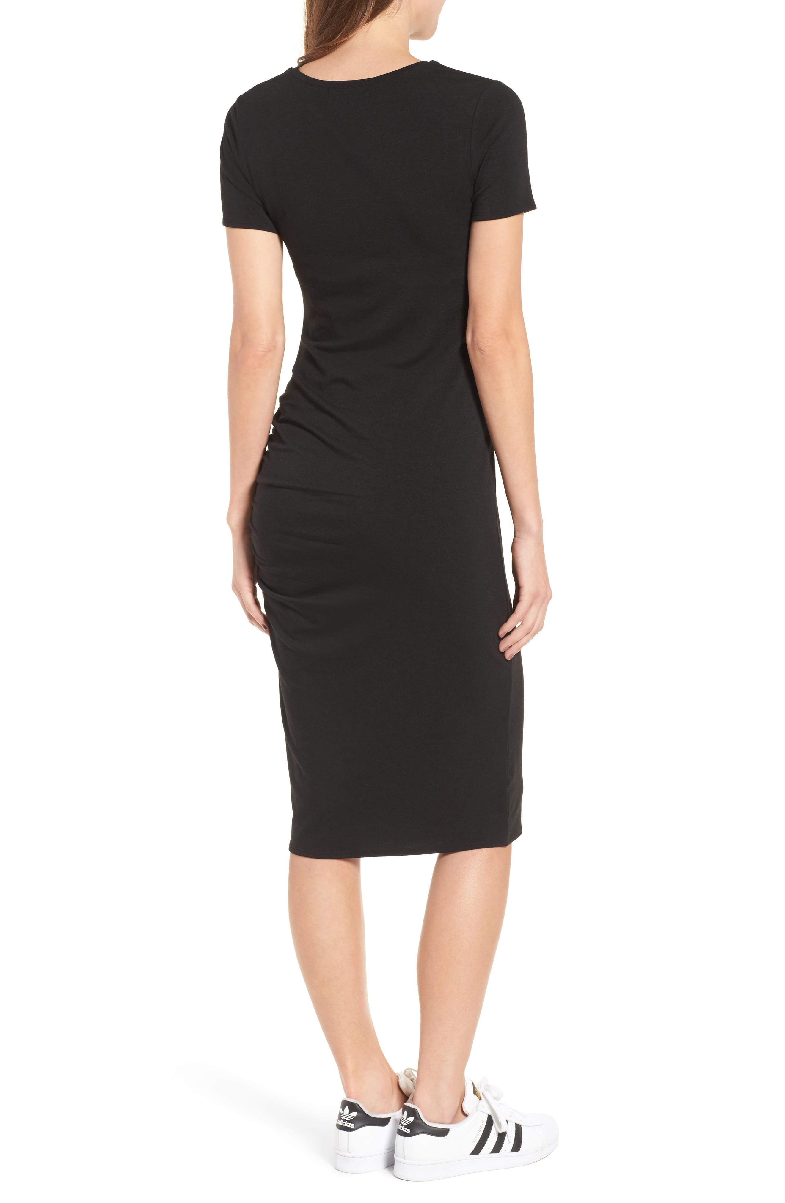Side Ruched Body-Con Dress,                             Alternate thumbnail 2, color,                             Black