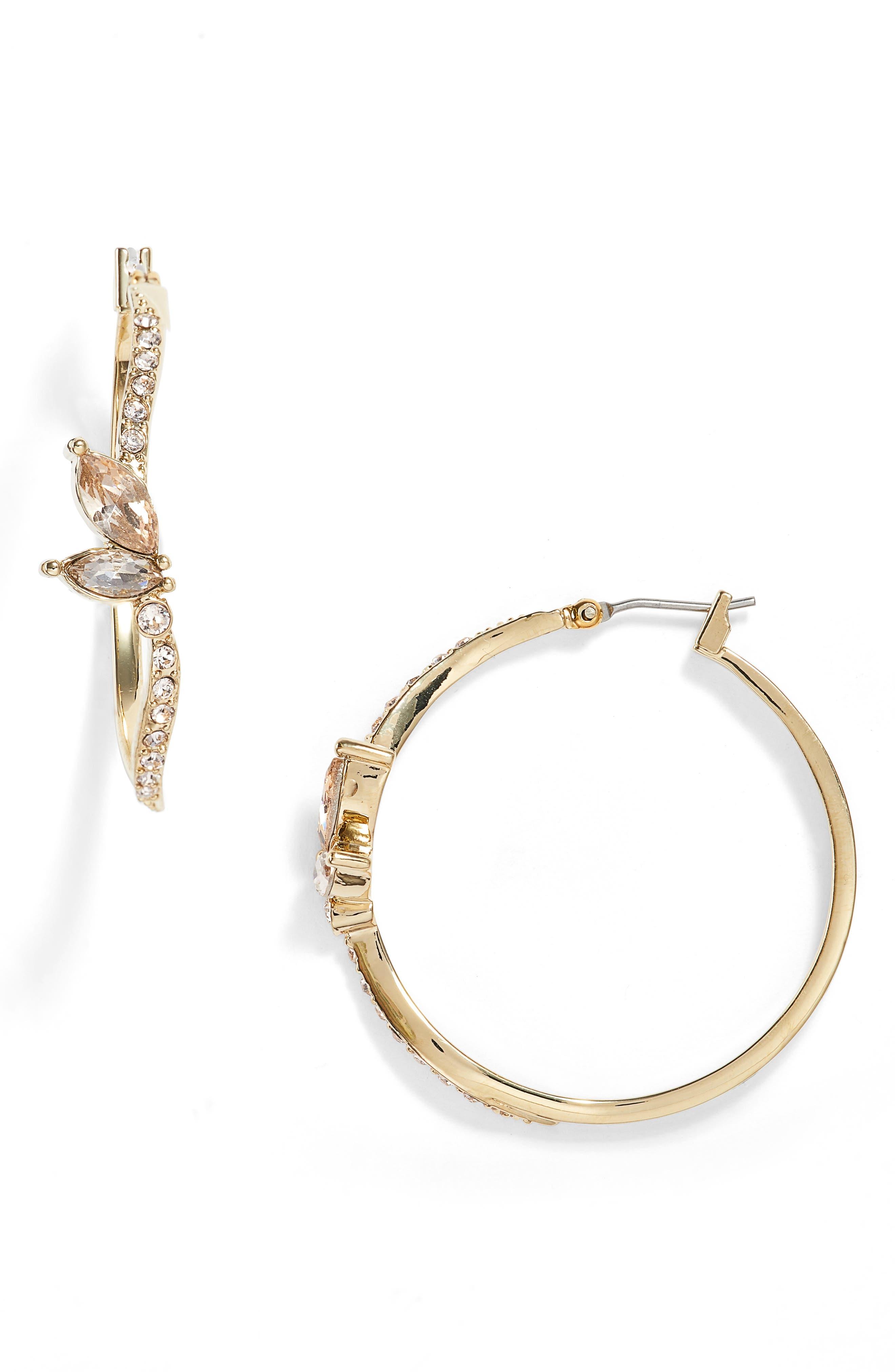 Jenny Packham Glistening Shadows Pavé Hoop Earrings