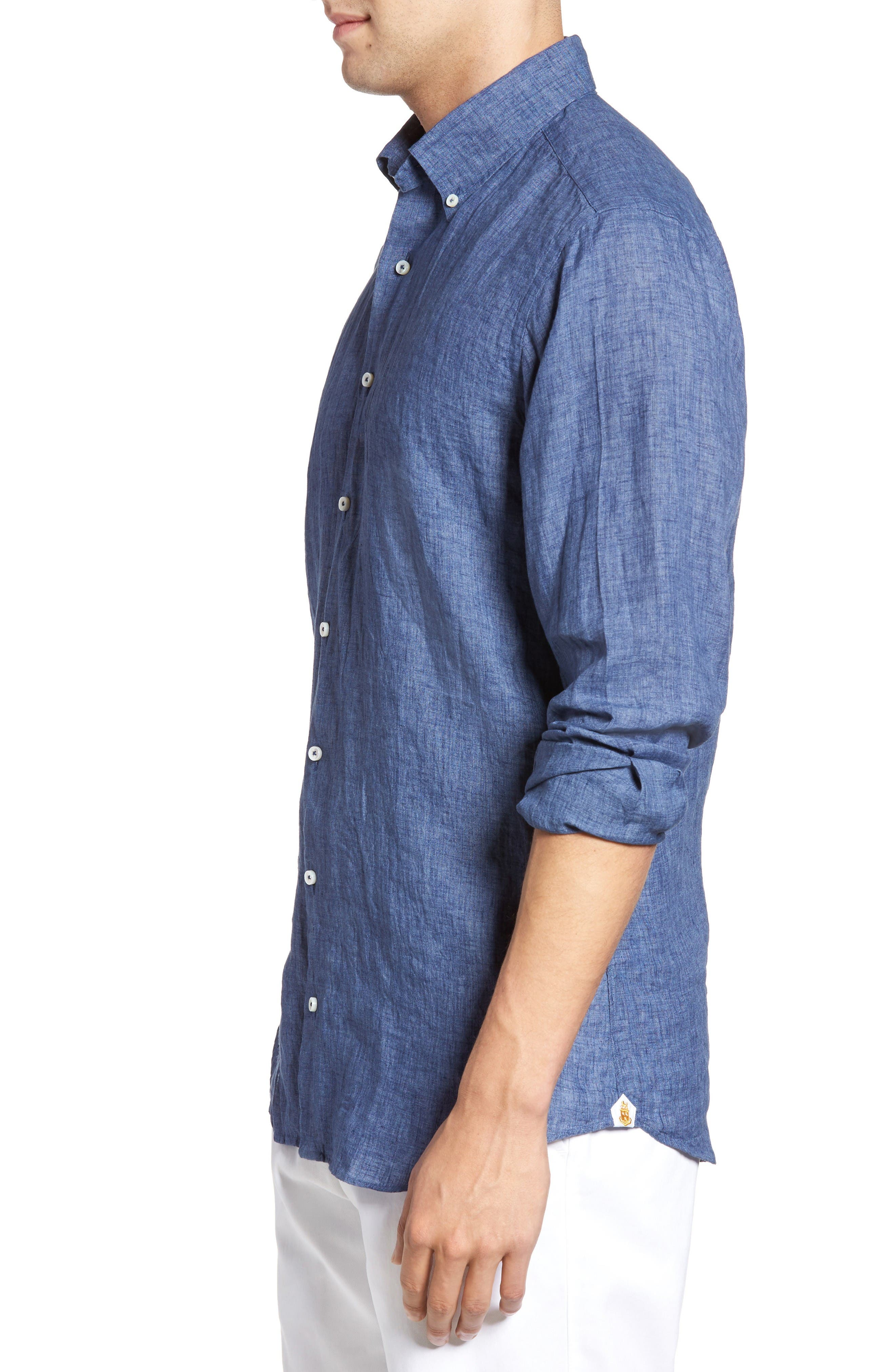 Estate Tailored Fit Sport Shirt,                             Alternate thumbnail 3, color,                             Denim