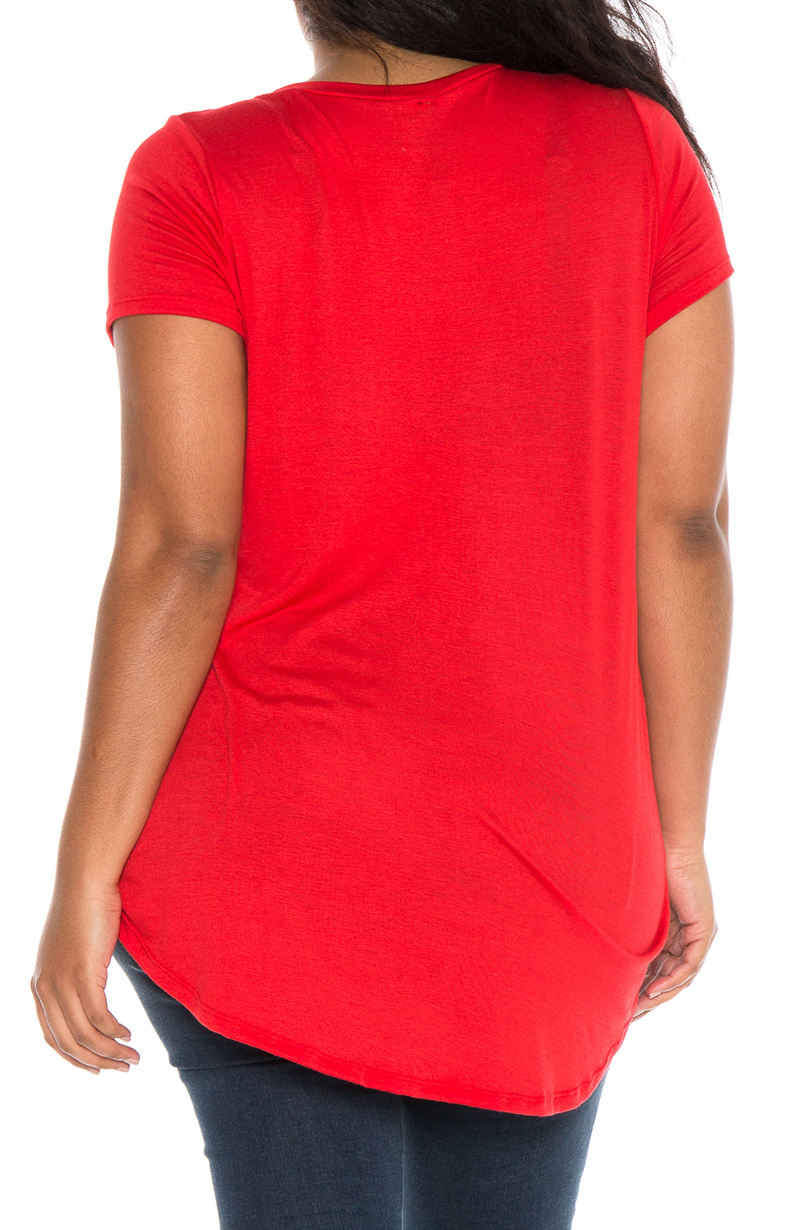 High/Low Scoop Neck Tee,                             Alternate thumbnail 2, color,                             Red