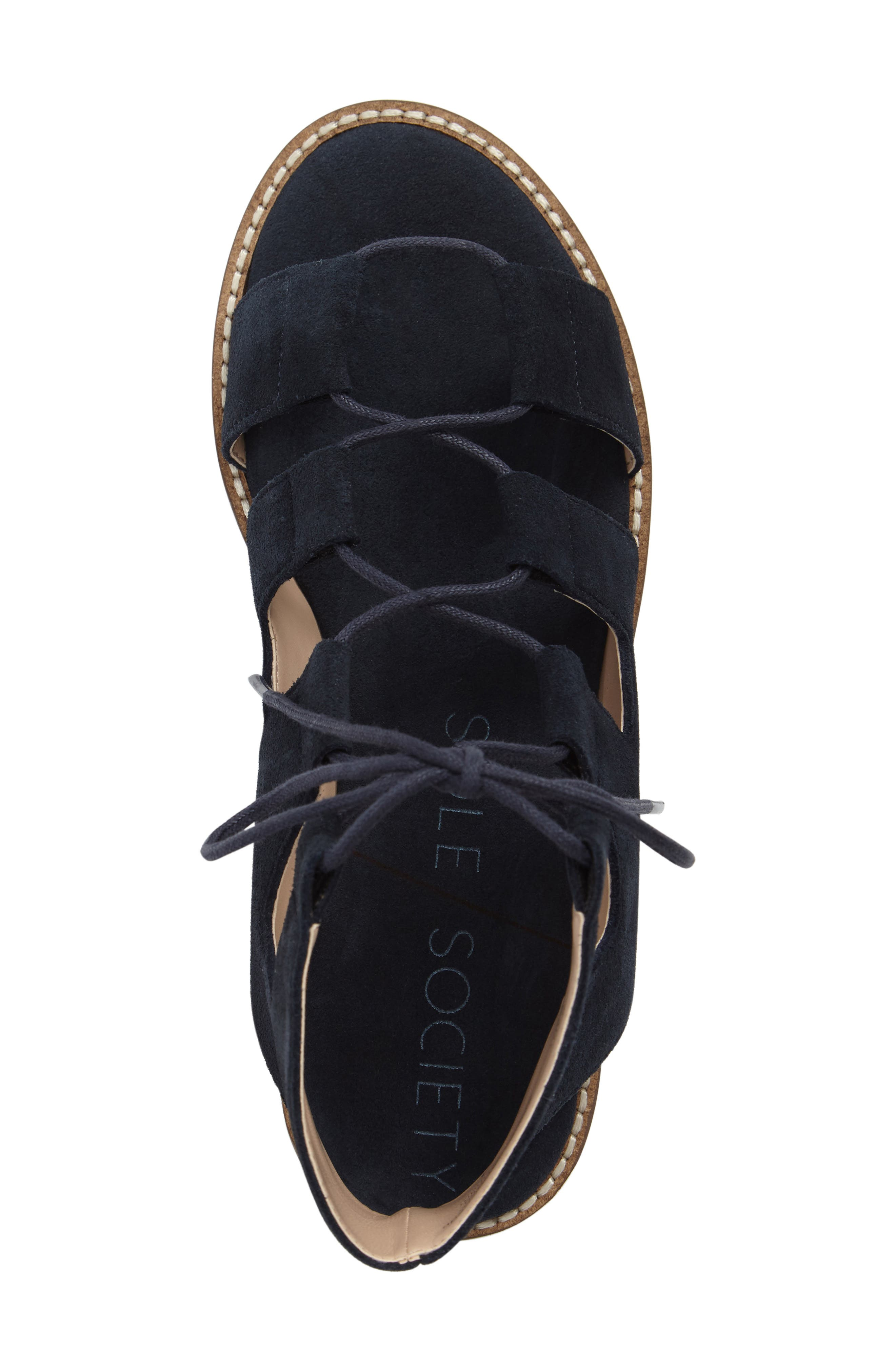 'Cady' Lace-Up Flat Sandal,                             Alternate thumbnail 5, color,                             Ink Navy Suede