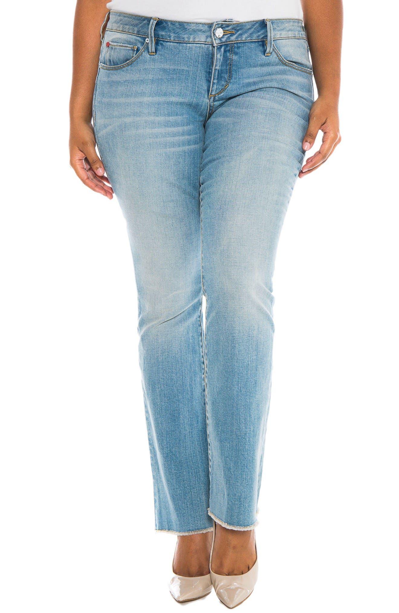 SLINK Jeans Fray Hem Stretch Bootcut Jeans (Becca) (Plus Size)