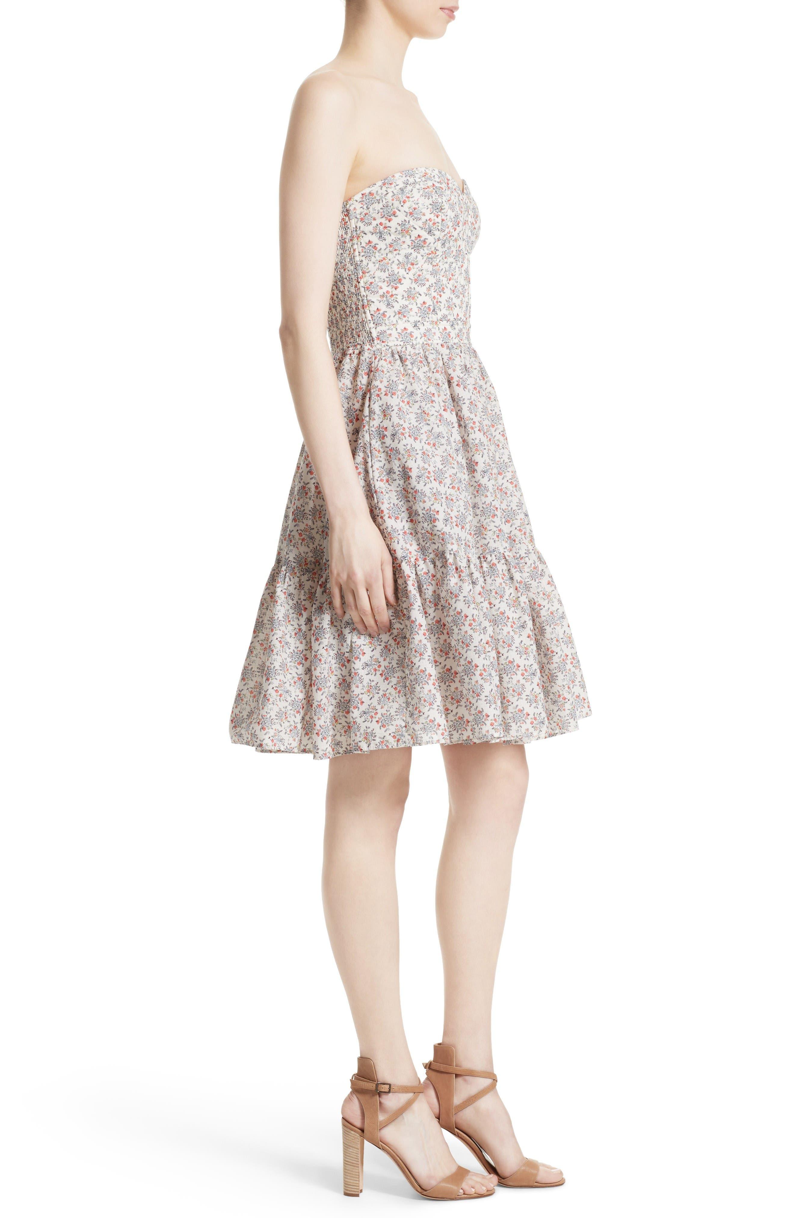 Provençal Strapless Dress,                             Alternate thumbnail 3, color,                             Creamsicle Combo