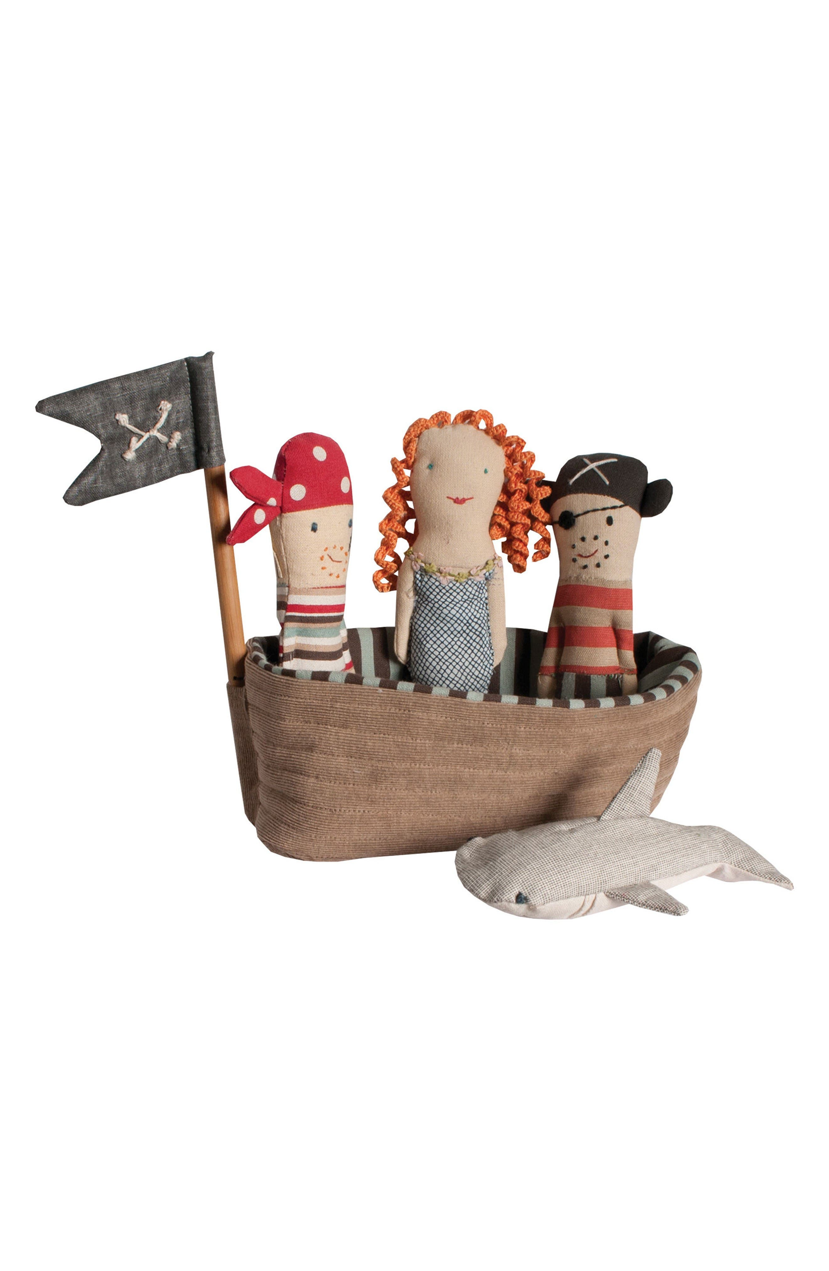 Pirate Ship Rattle 5-Piece Play Set,                         Main,                         color, Brown