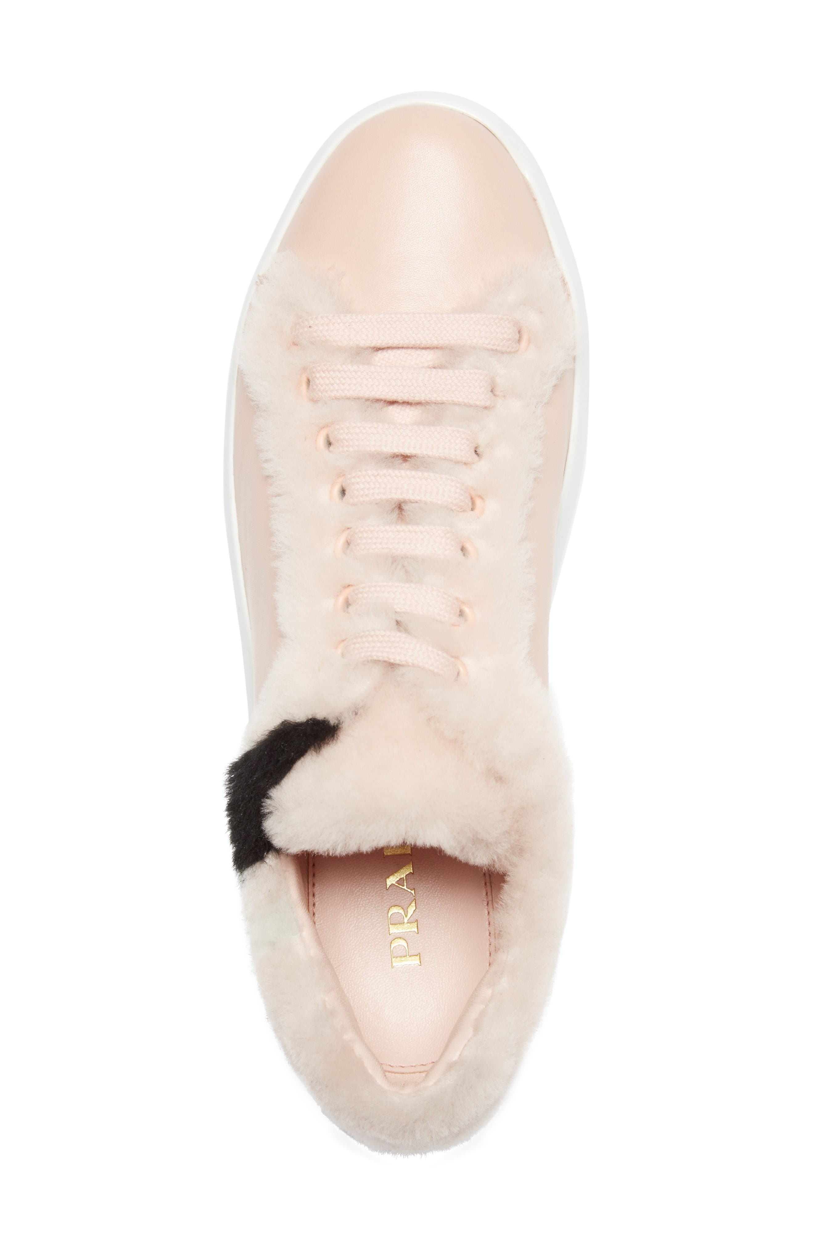 Genuine Shearling Trim Platform Sneaker,                             Alternate thumbnail 3, color,                             Pink Leather