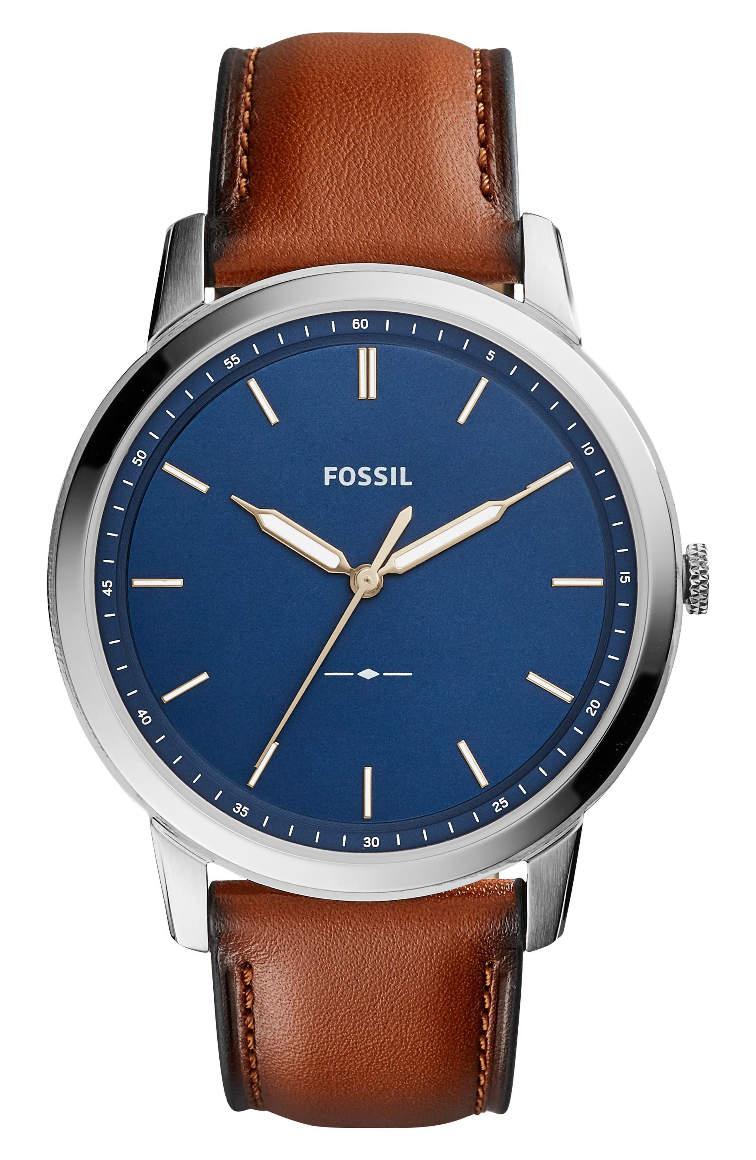 Minimalist Leather Strap Watch, 44mm,                             Main thumbnail 1, color,                             Brown/ Blue/ Silver