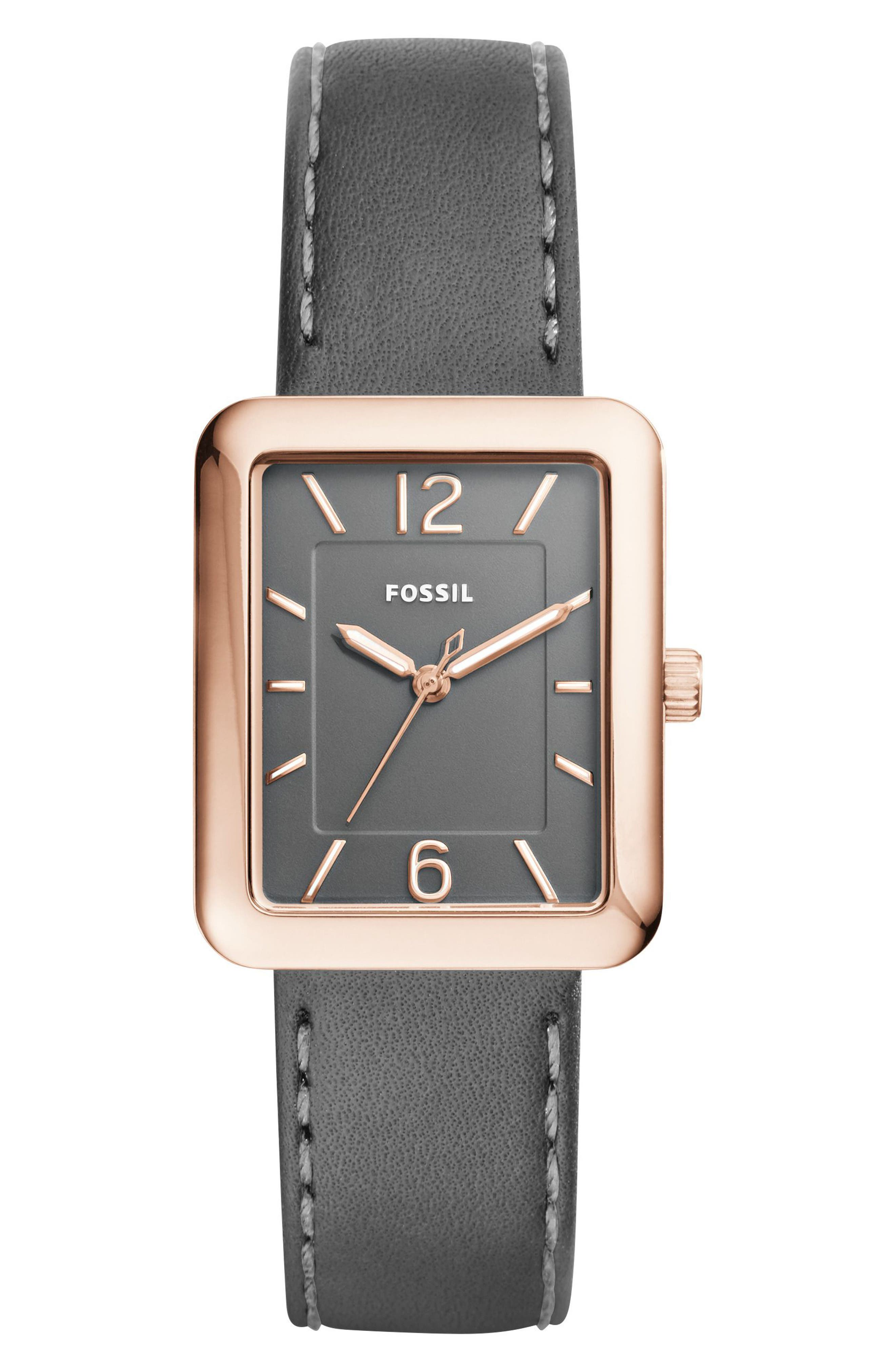 Atwater Leather Strap Watch, 28mm,                             Main thumbnail 1, color,                             Black/ Rose Gold