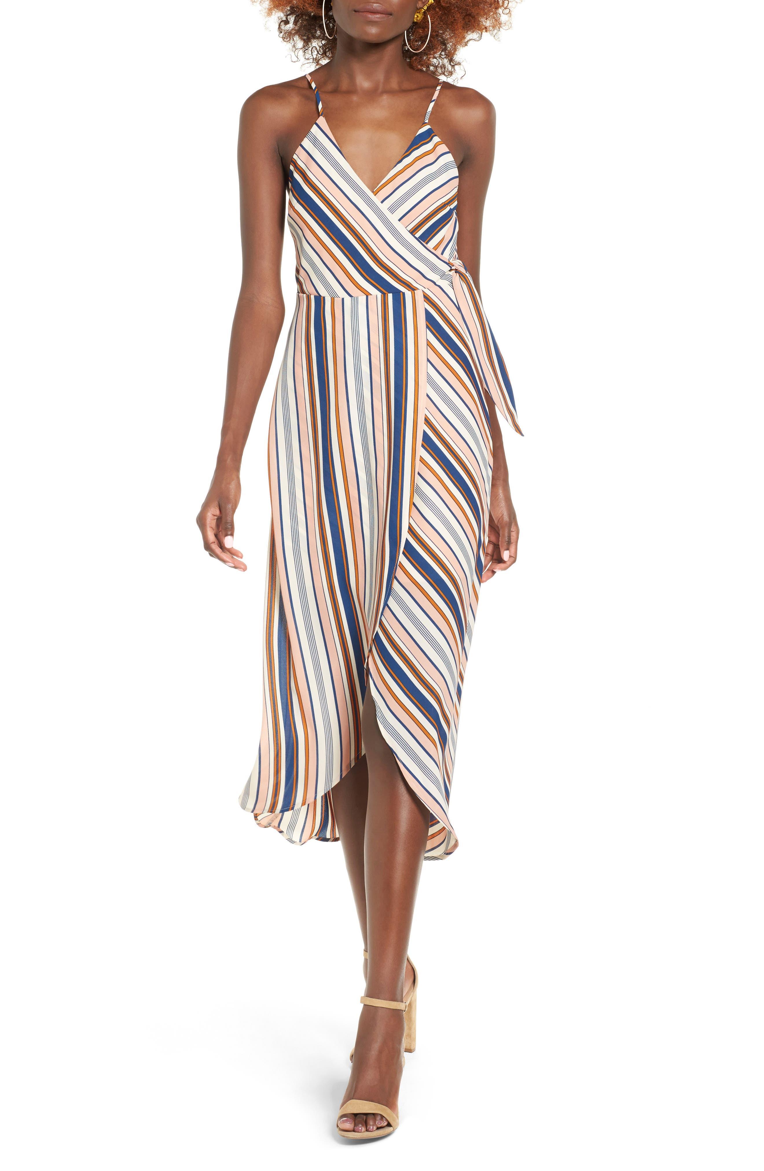 Alternate Image 1 Selected - Dee Elly Stripe Surplice Dress