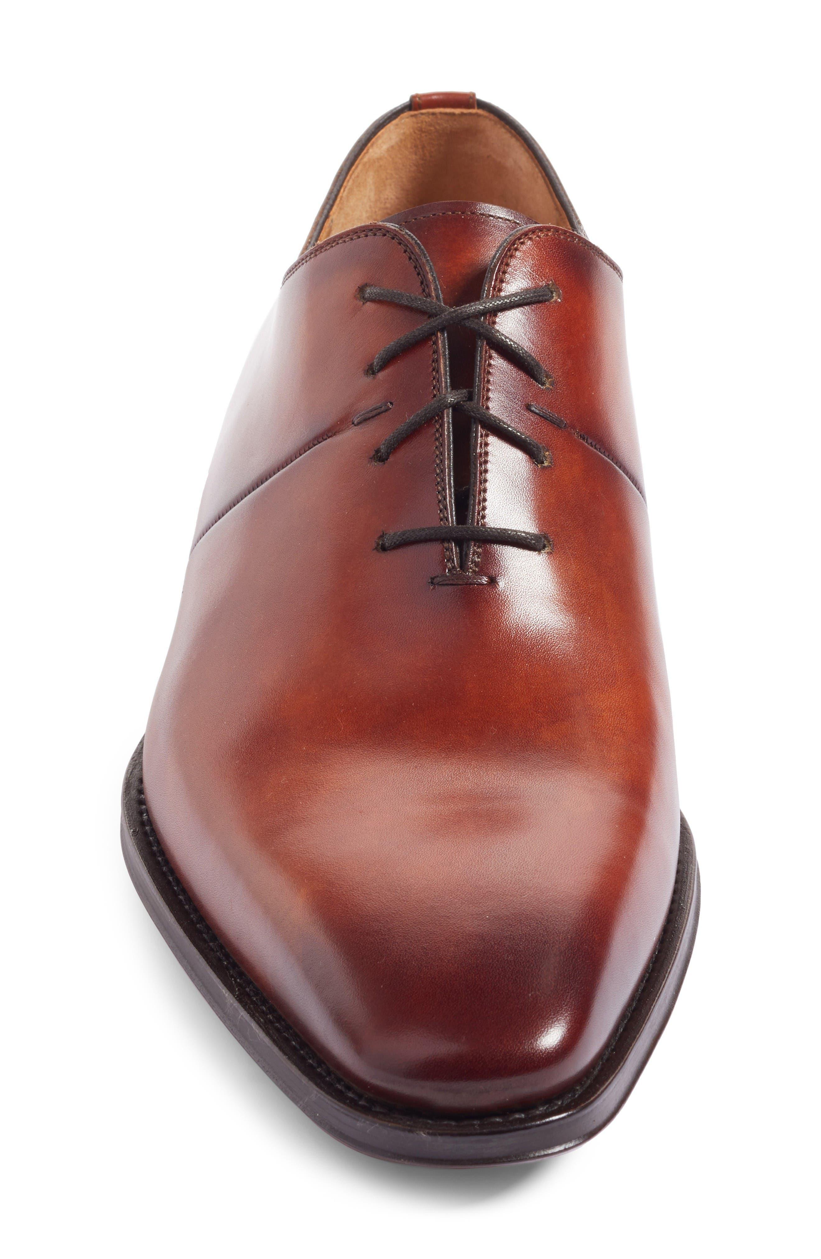 Cornado Plain Toe Oxford,                             Alternate thumbnail 4, color,                             Cognac Leather