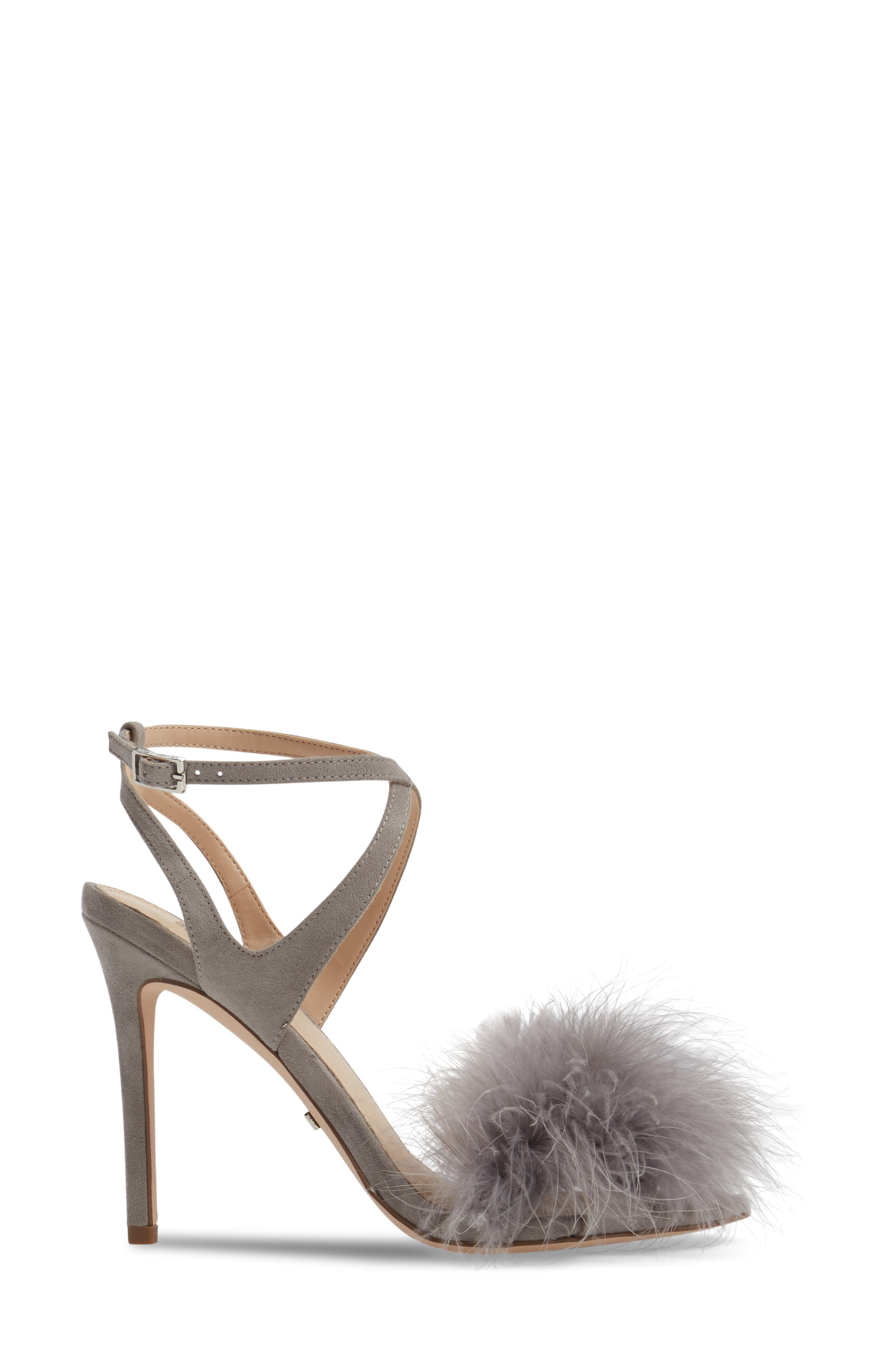 Reine Feathered Sandal,                             Alternate thumbnail 3, color,                             Grey