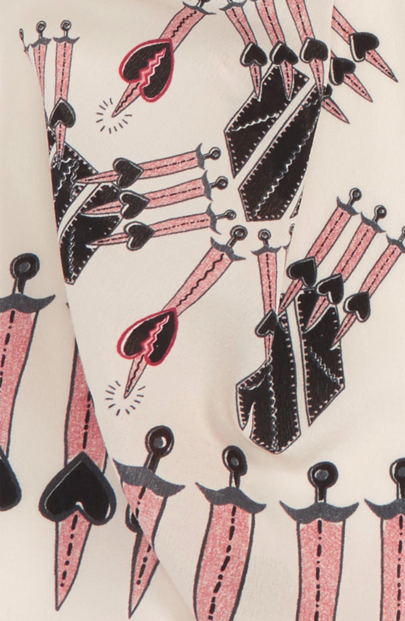 Loveblade Silk Scarf,                             Alternate thumbnail 3, color,                             Ivory