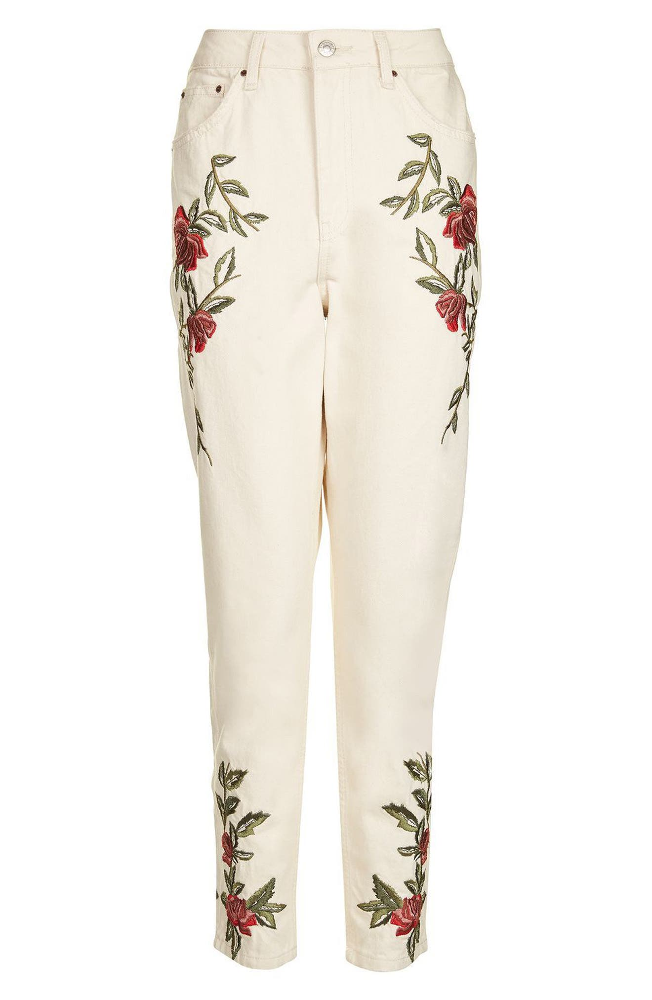 Alternate Image 4  - Topshop Rose Embroidered Mom Jeans