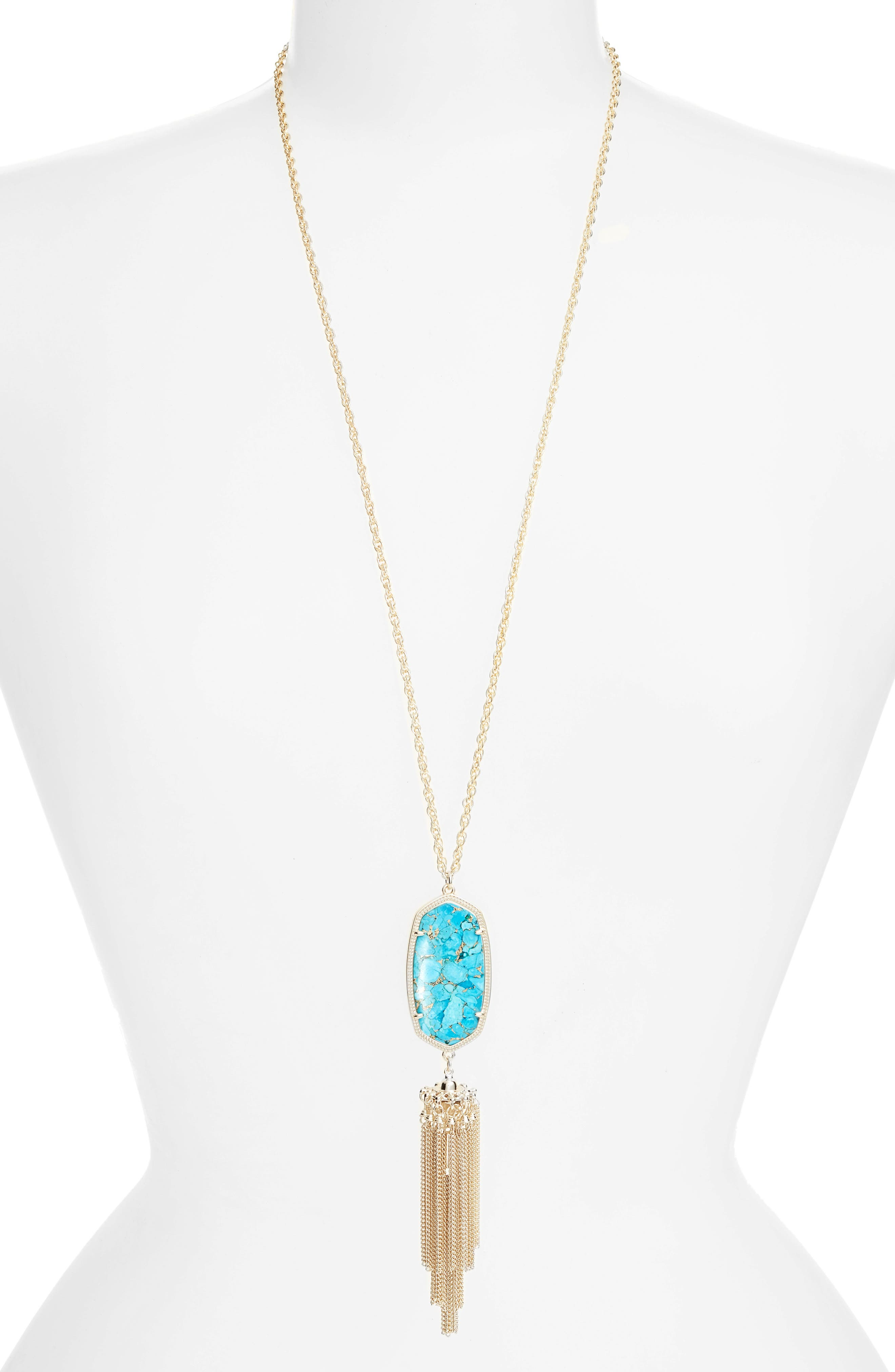 Rayne Stone Tassel Pendant Necklace,                         Main,                         color, Bronze Veined Turquoise/ Gold