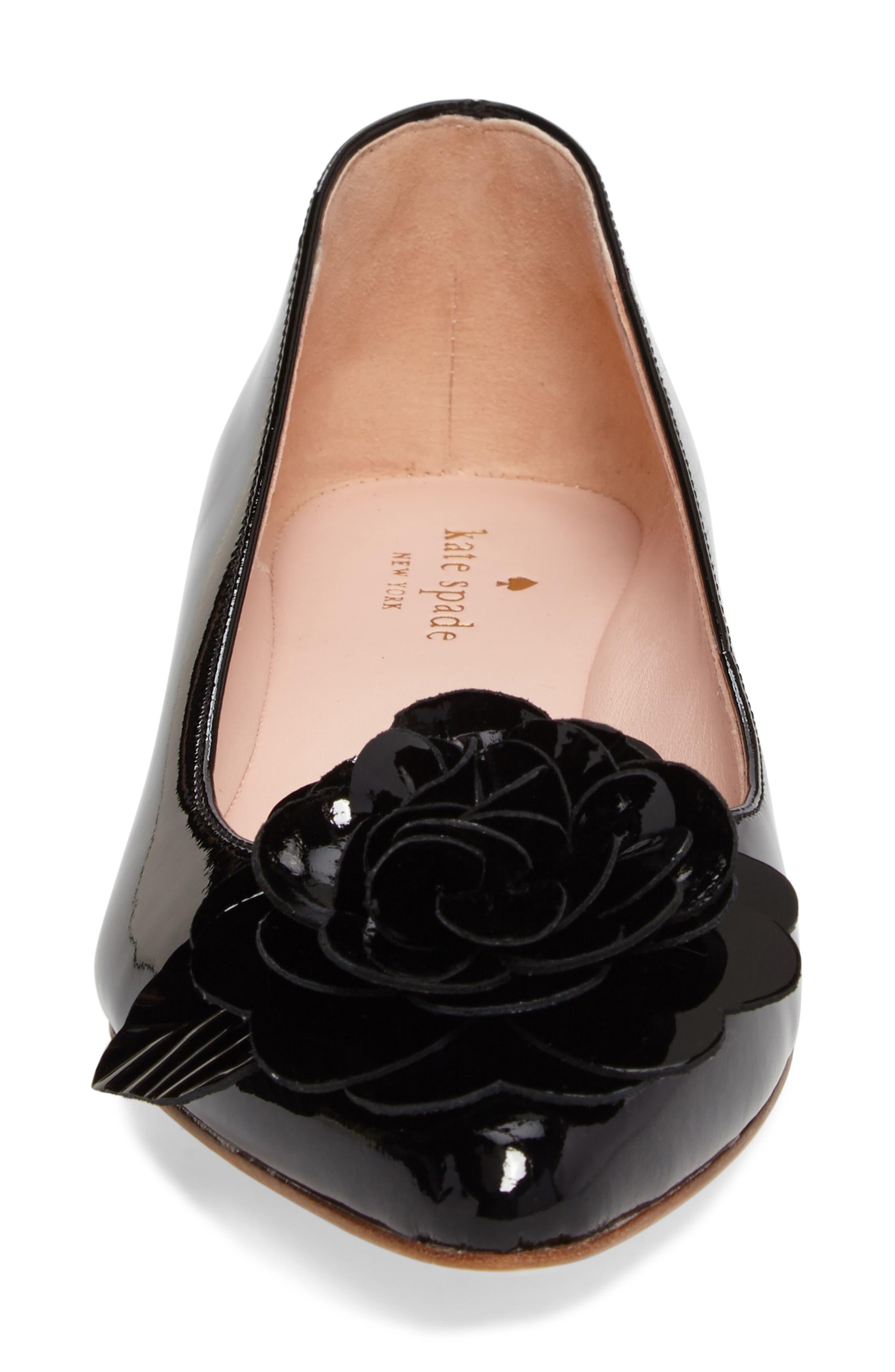 ellie pointy toe flat,                             Alternate thumbnail 4, color,                             Black Patent