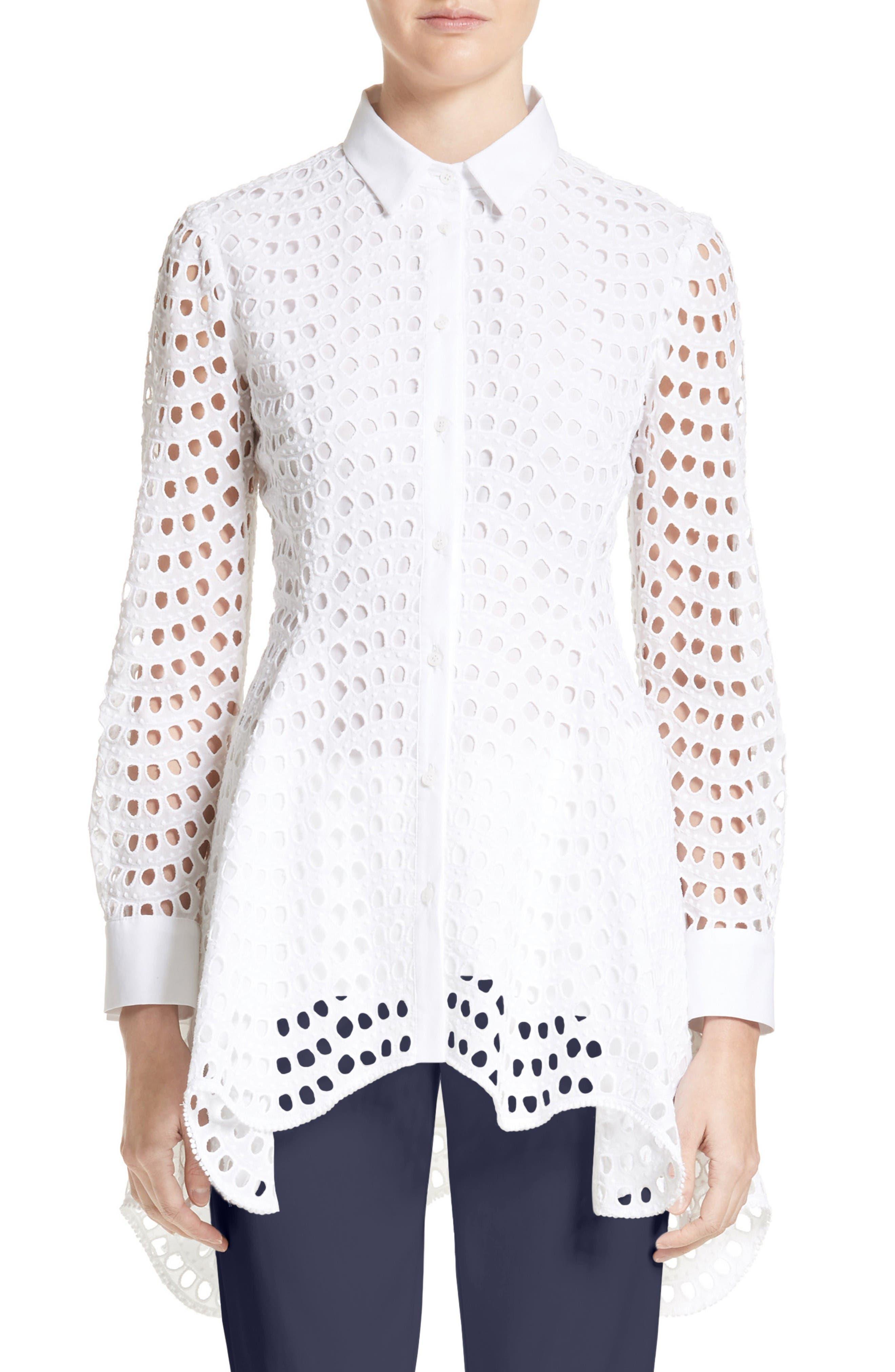 Lela Rose Silk & Cotton Eyelet Peplum Shirt