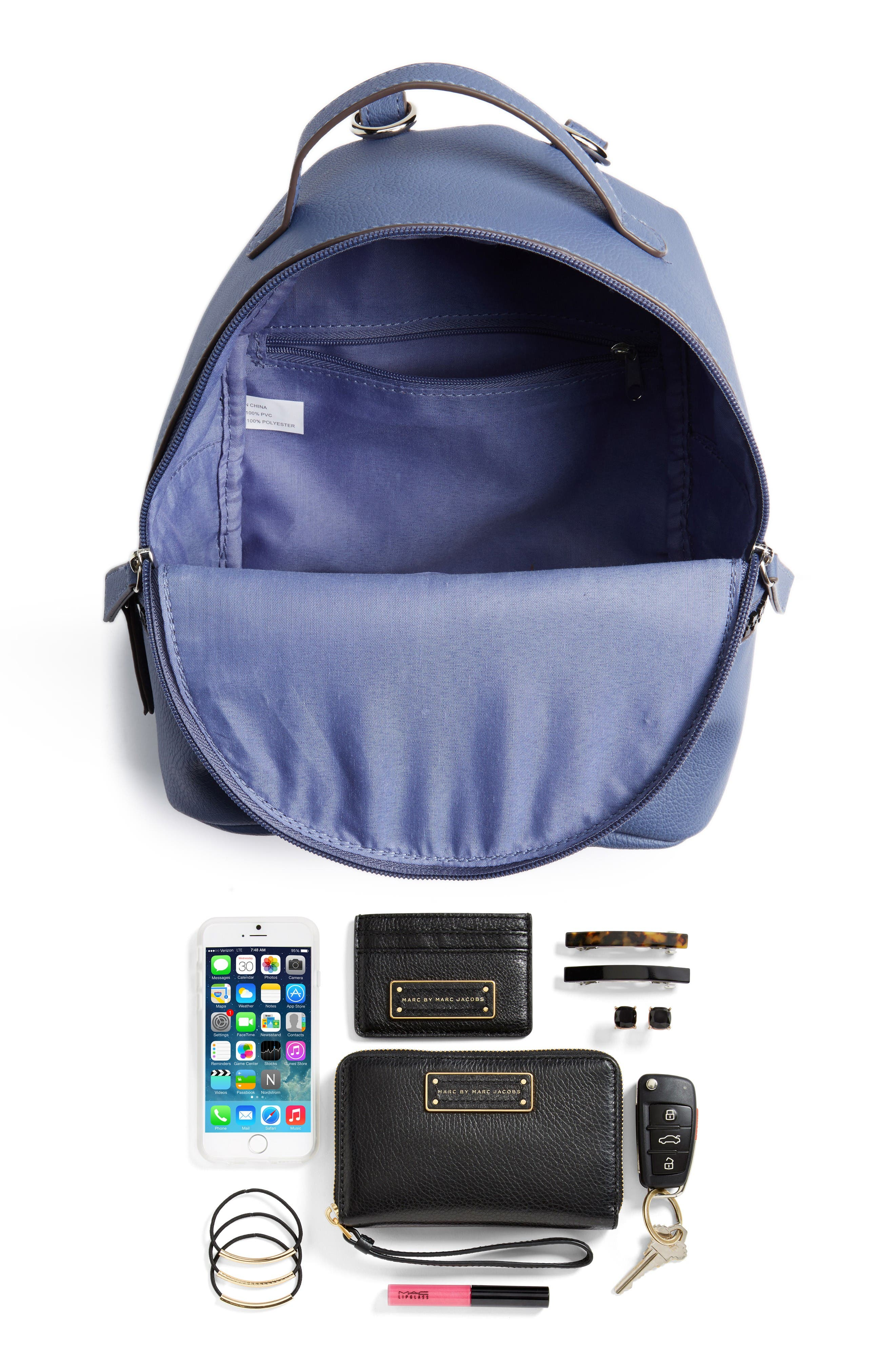 Textured Faux Leather Mini Backpack,                             Alternate thumbnail 7, color,                             Blue