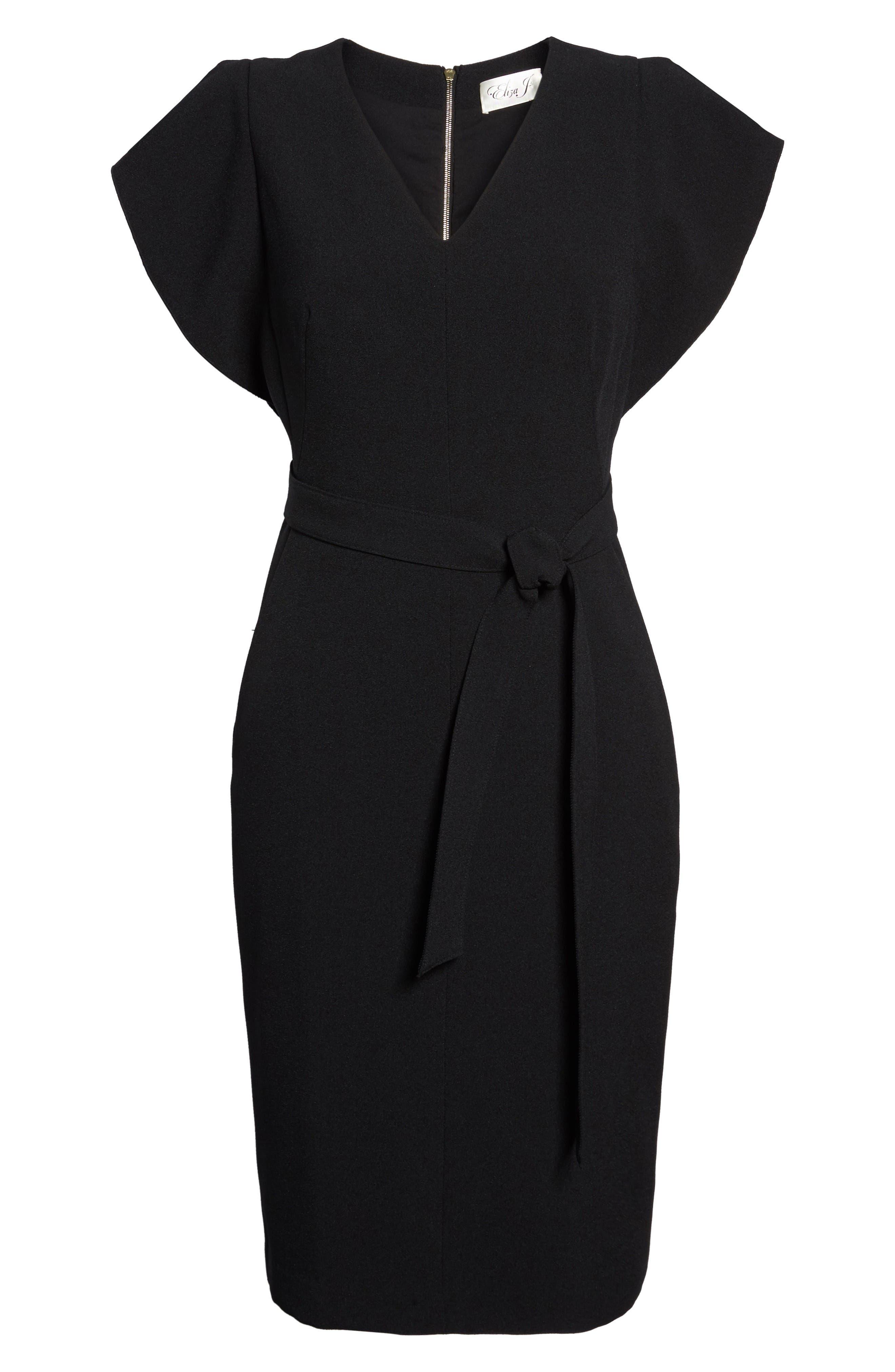 Ruffle Sleeve Sheath Dress,                             Alternate thumbnail 8, color,                             Black
