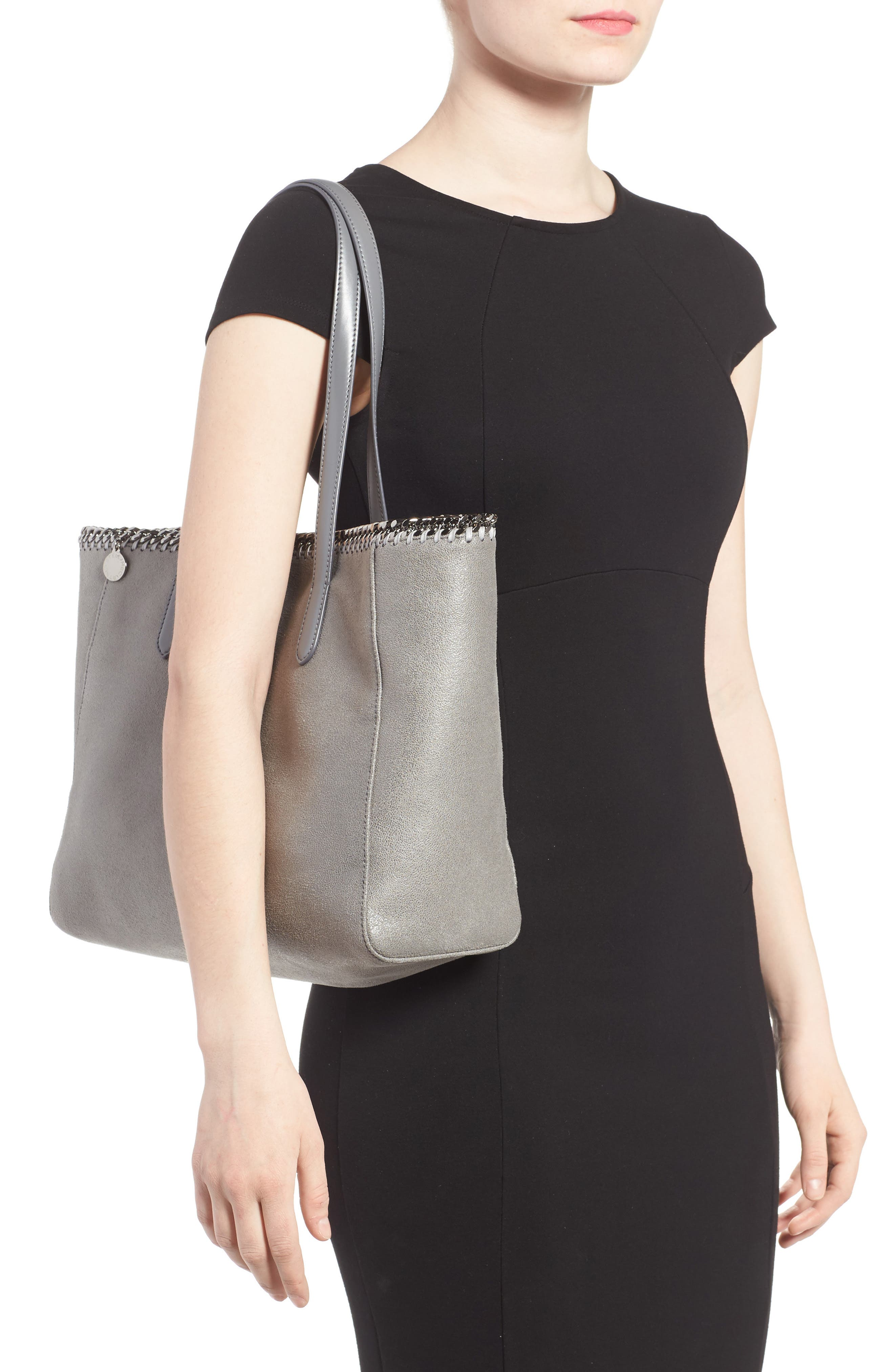 'Falabella - Shaggy Deer' Faux Leather Tote,                             Alternate thumbnail 2, color,                             Light Grey