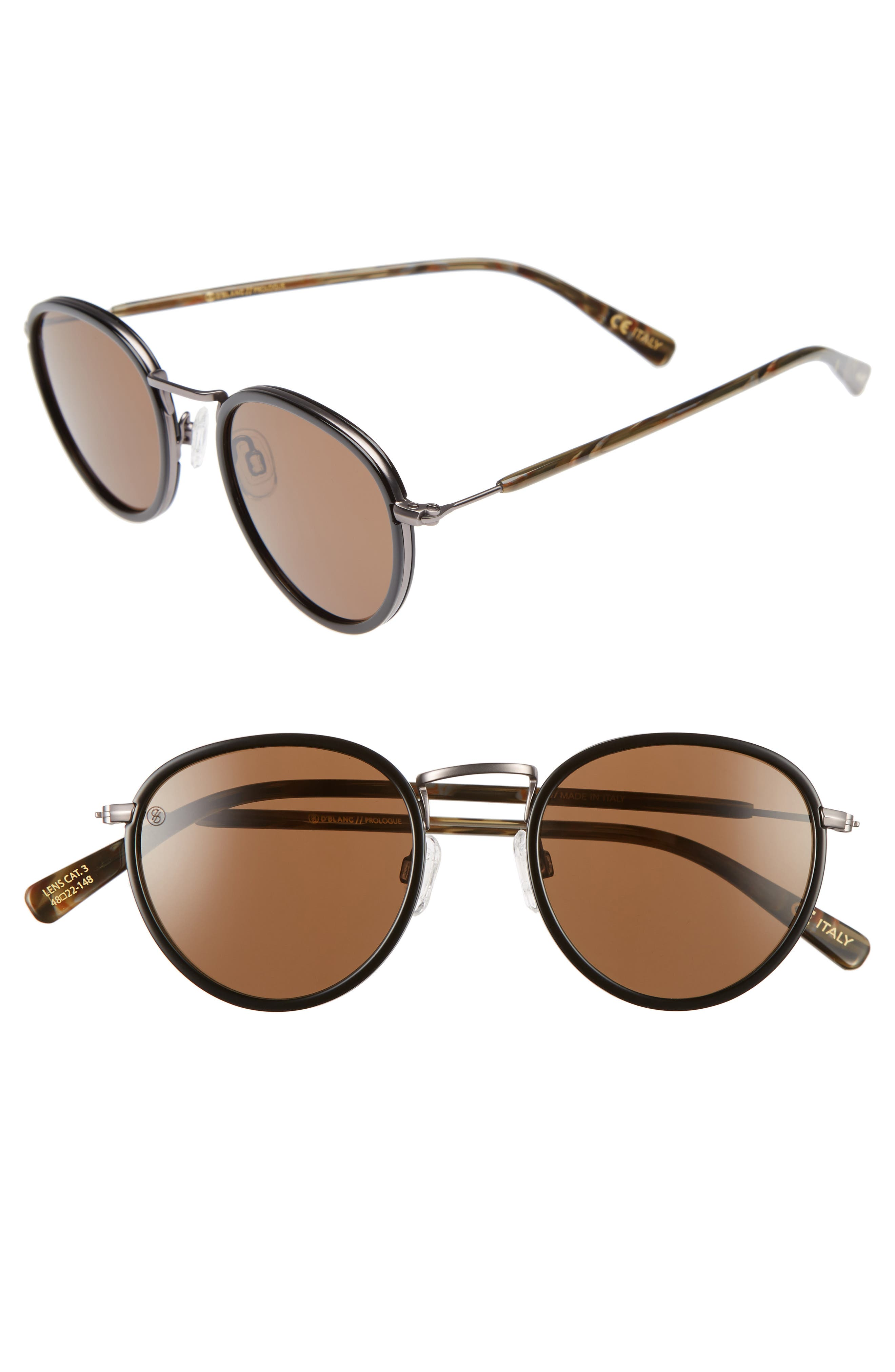 D'BLANC Prologue 48mm Round Sunglasses,                         Main,                         color, Flat Charcoal/ Brown